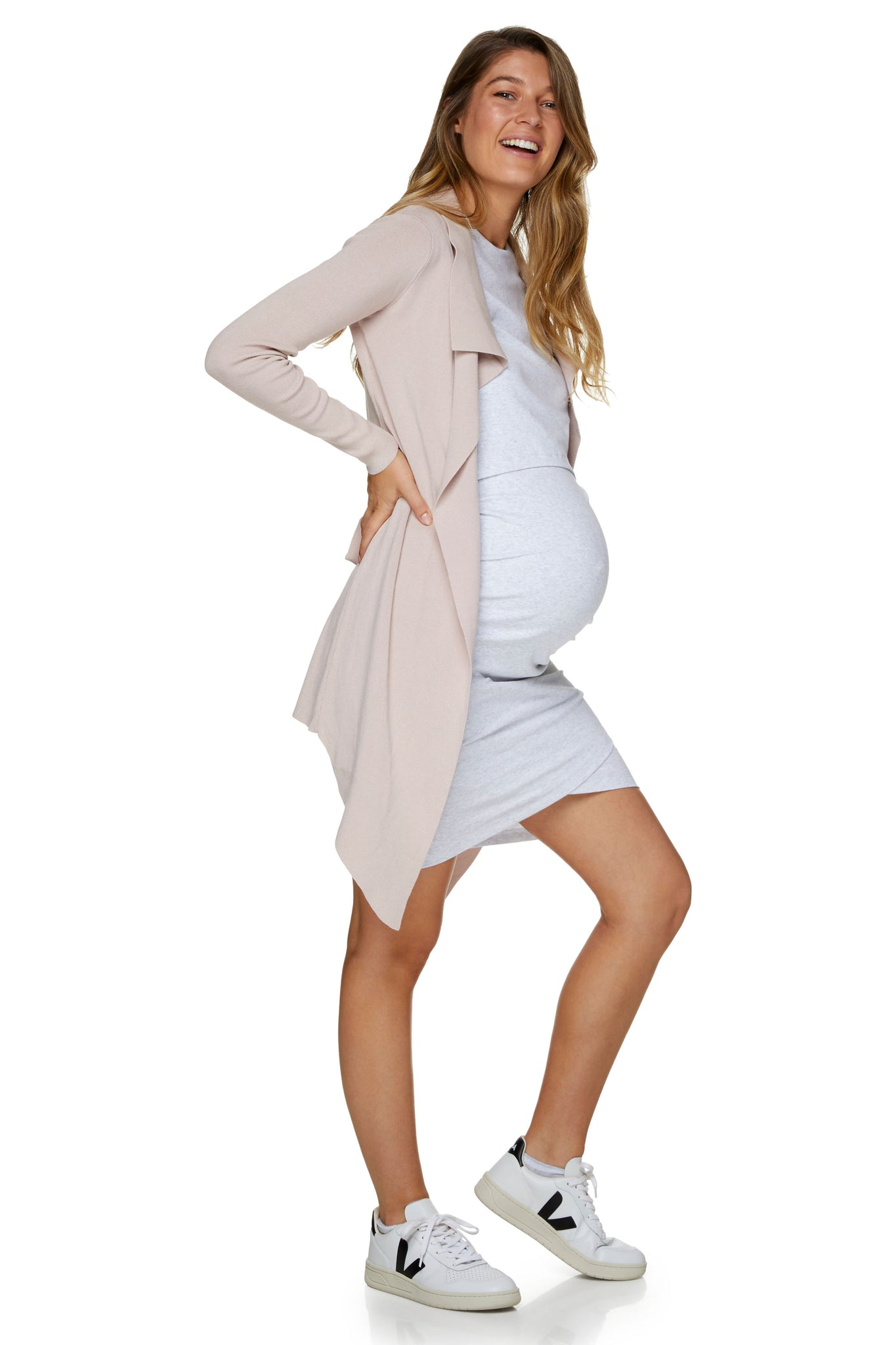 maternity nursing dress - grey marle 4