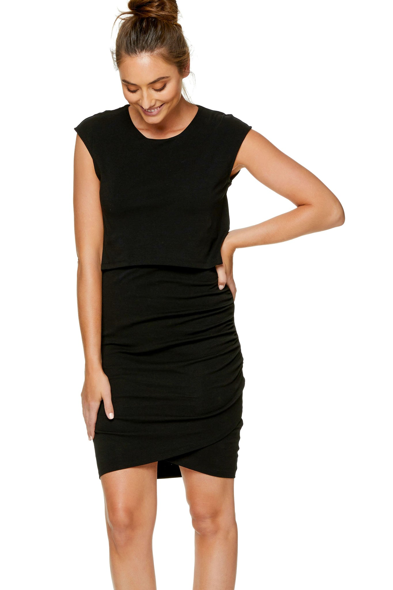 Maternity & Nursing Bodycon Dress - Black 7