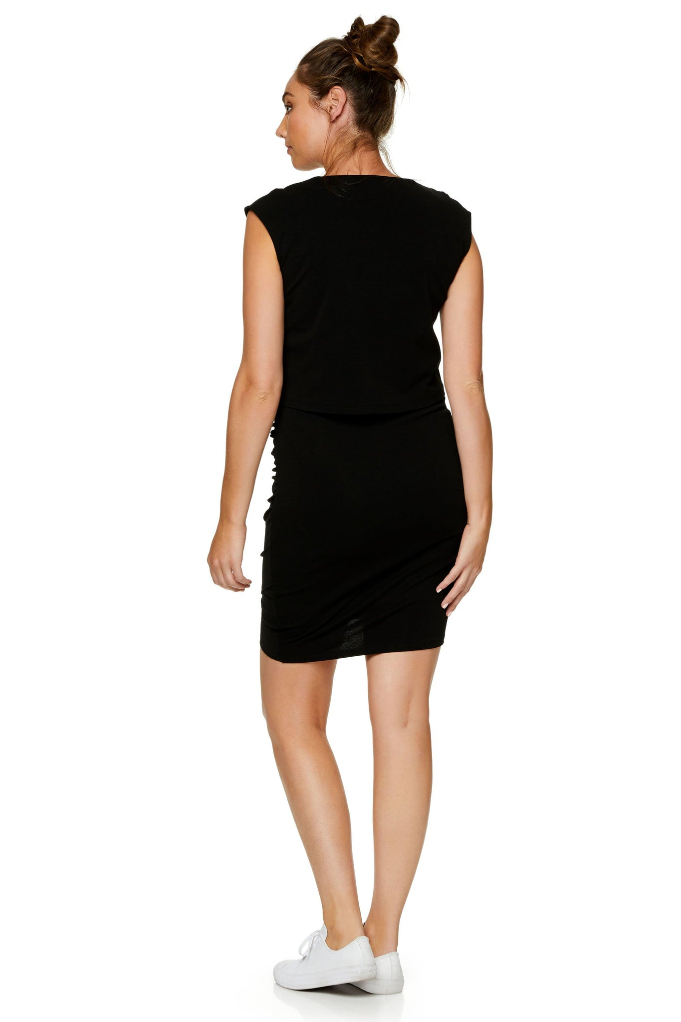 Maternity & Nursing Bodycon Dress - Black 9