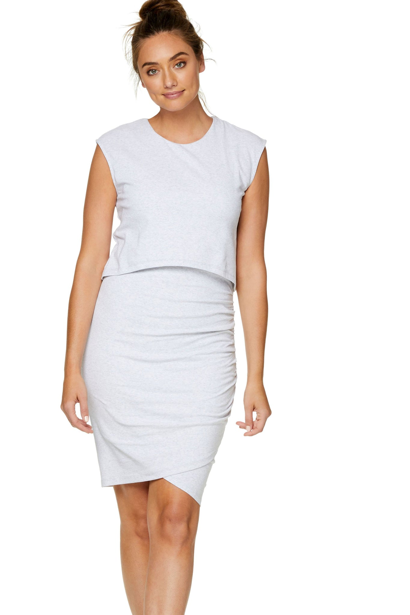 maternity nursing dress - grey marle 7