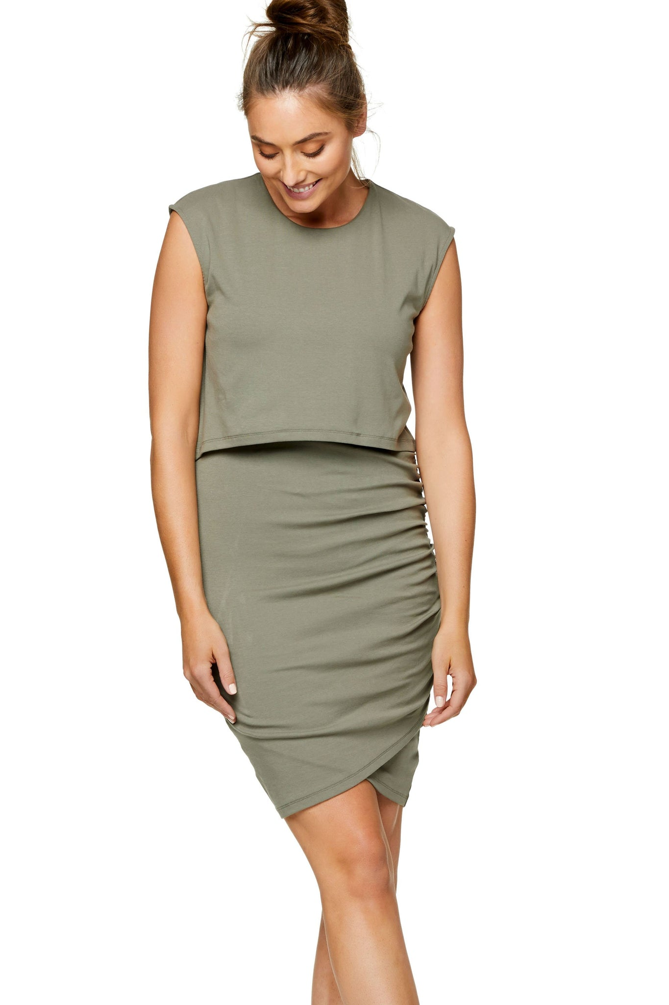 Maternity & Nursing Bodycon Dress - Khaki 6