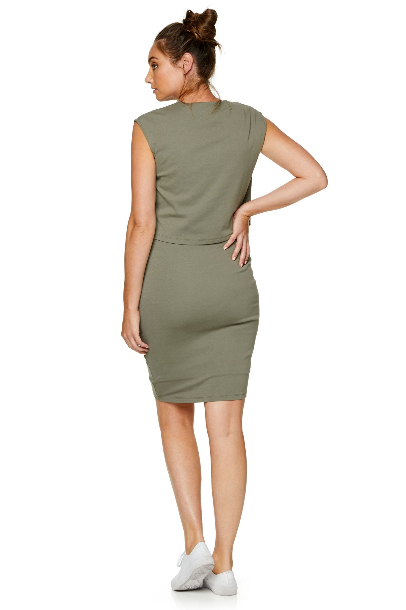 Maternity & Nursing Bodycon Dress - Khaki 8