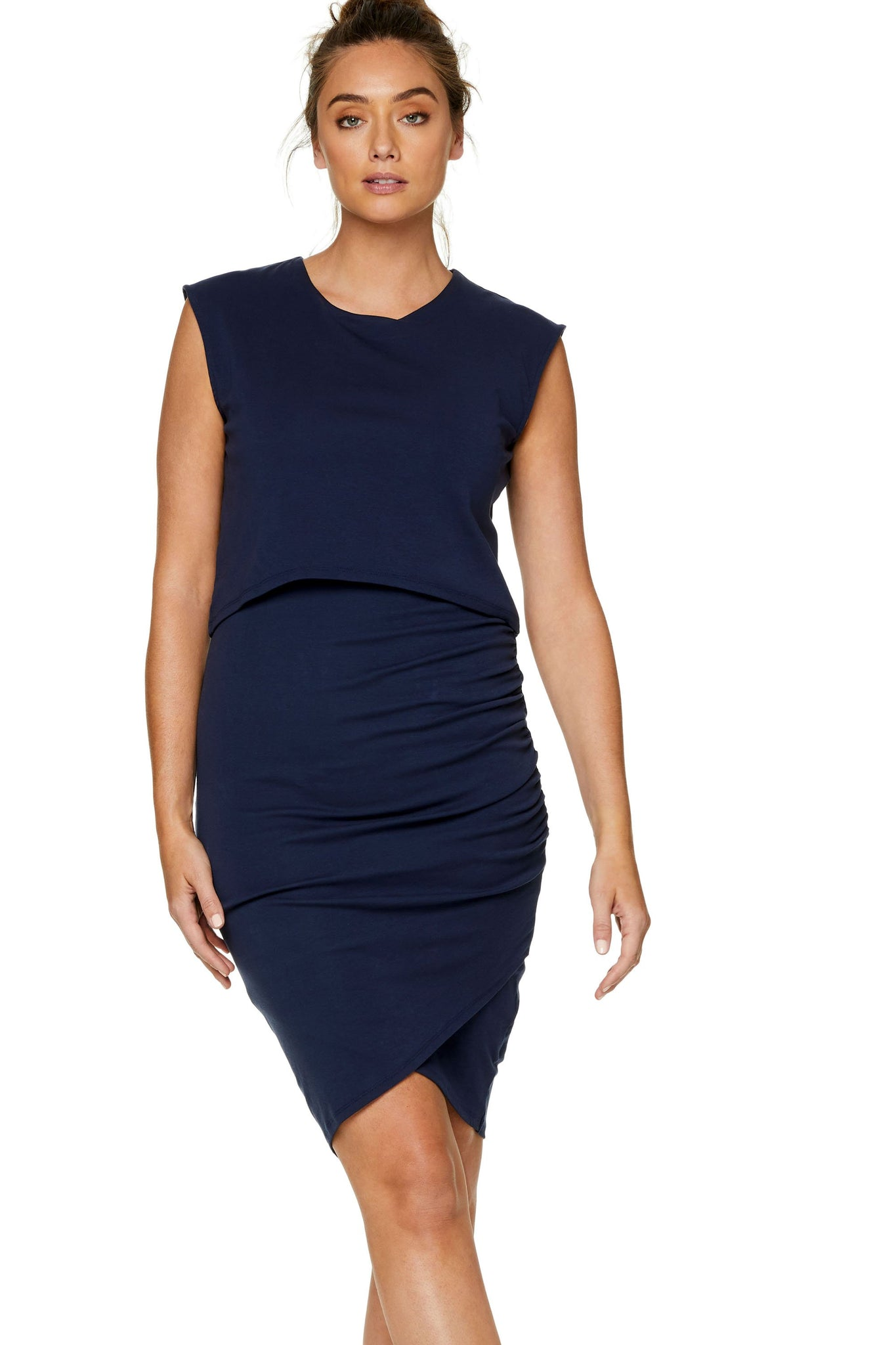 maternity nursing dress - navy 7