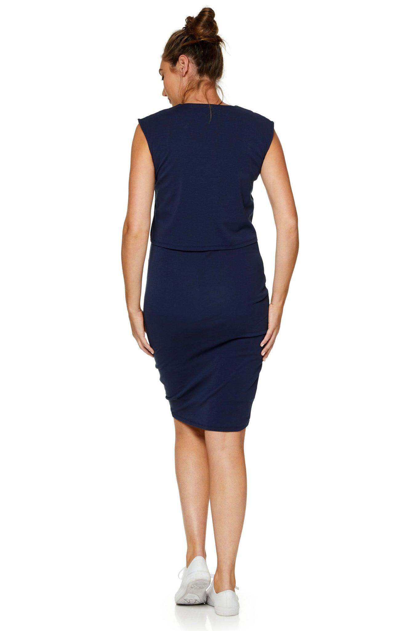 maternity nursing dress - navy 9
