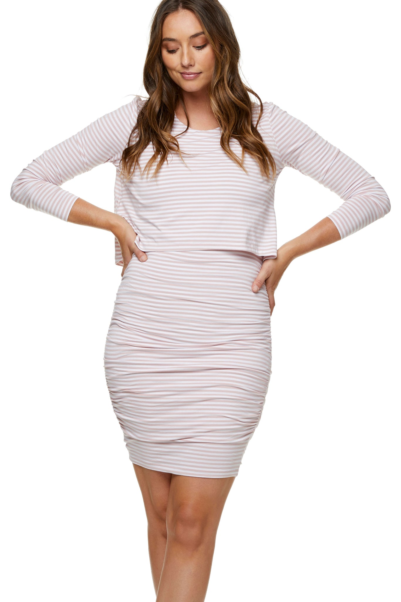 Pink long sleeve nursing dress 5