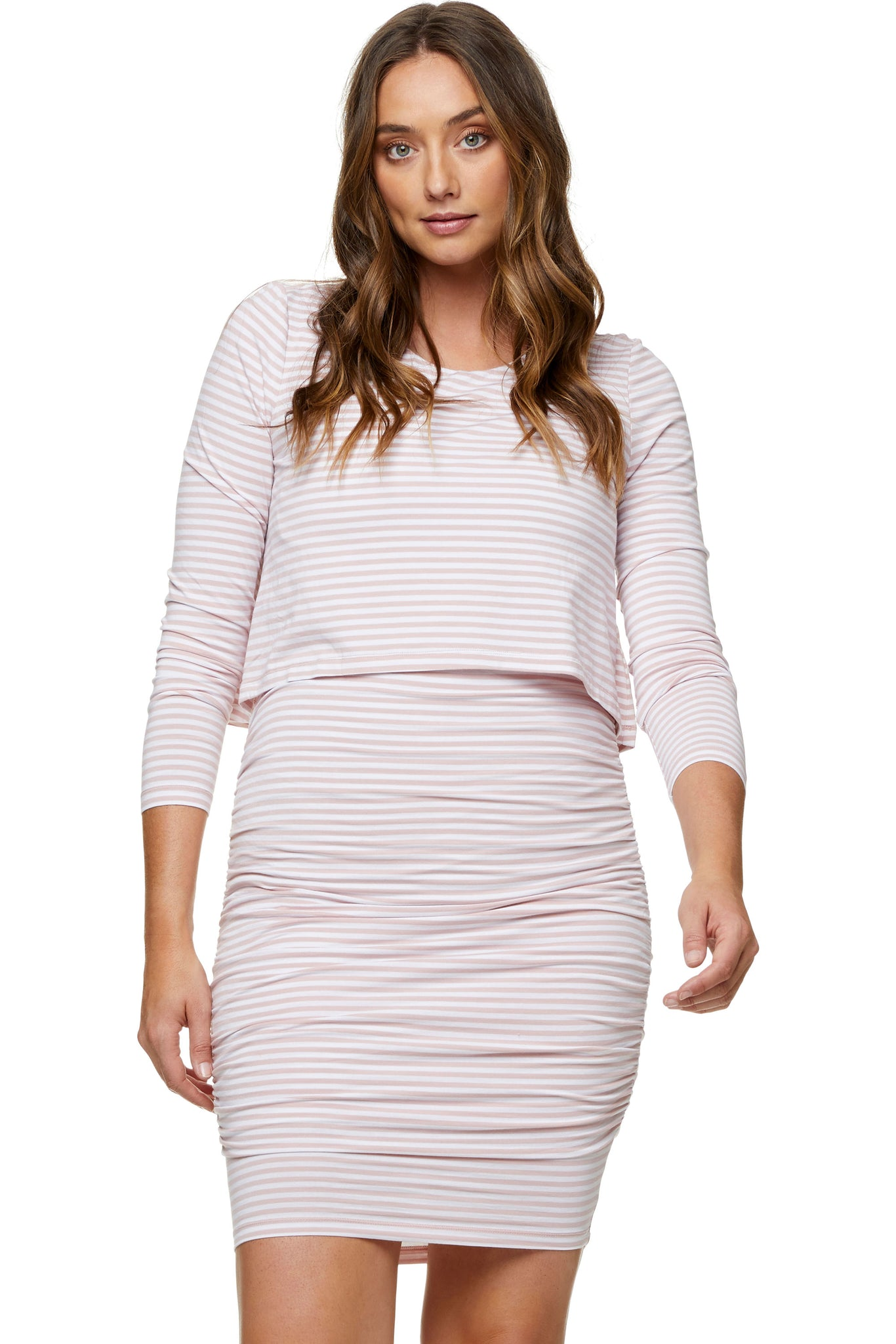 Pink long sleeve nursing dress 8