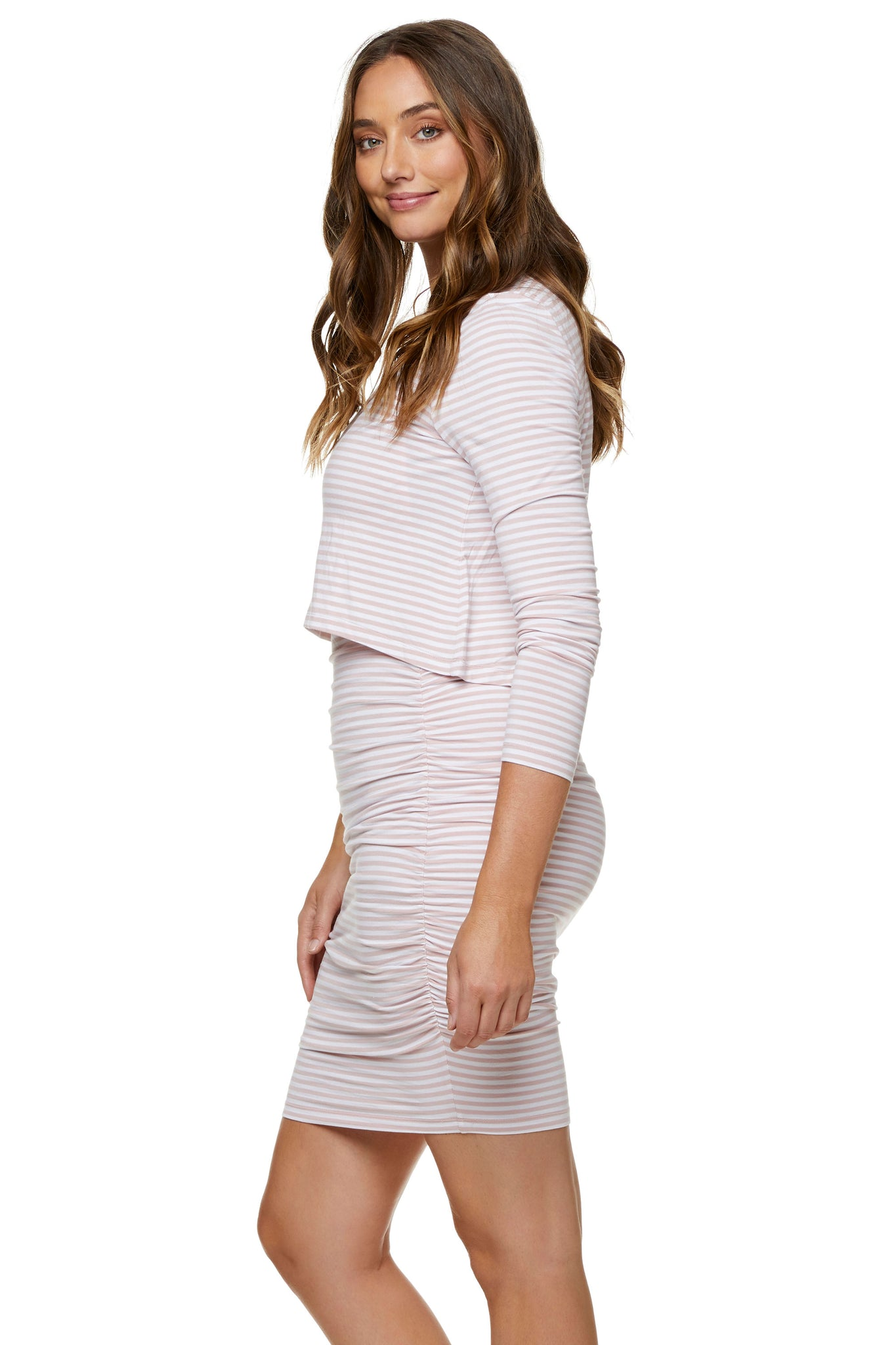 Pink long sleeve nursing dress 6