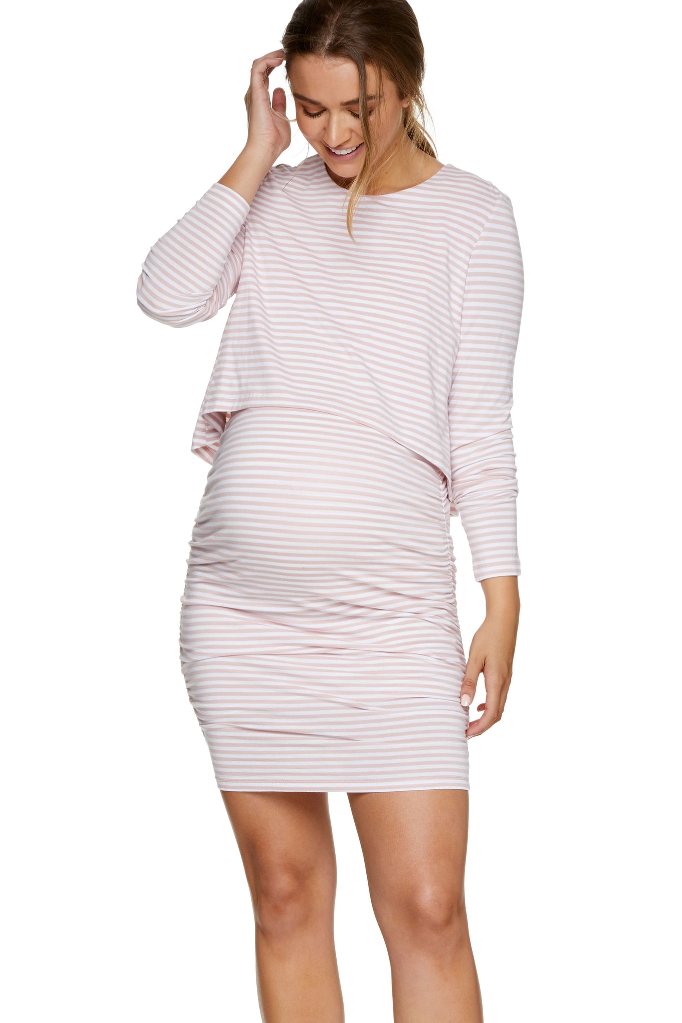 Pink long sleeve nursing dress 1