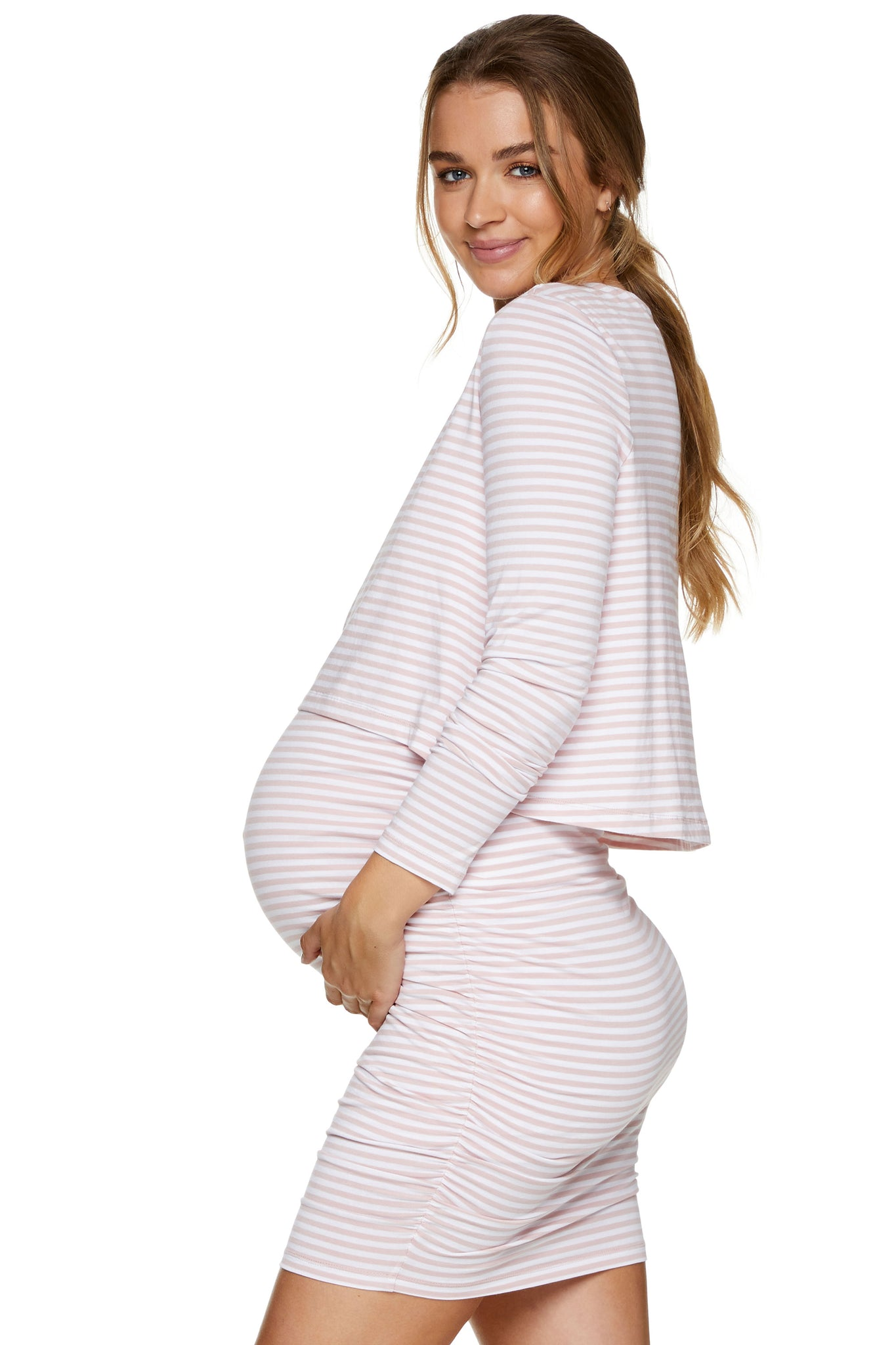 Pink long sleeve nursing dress 2