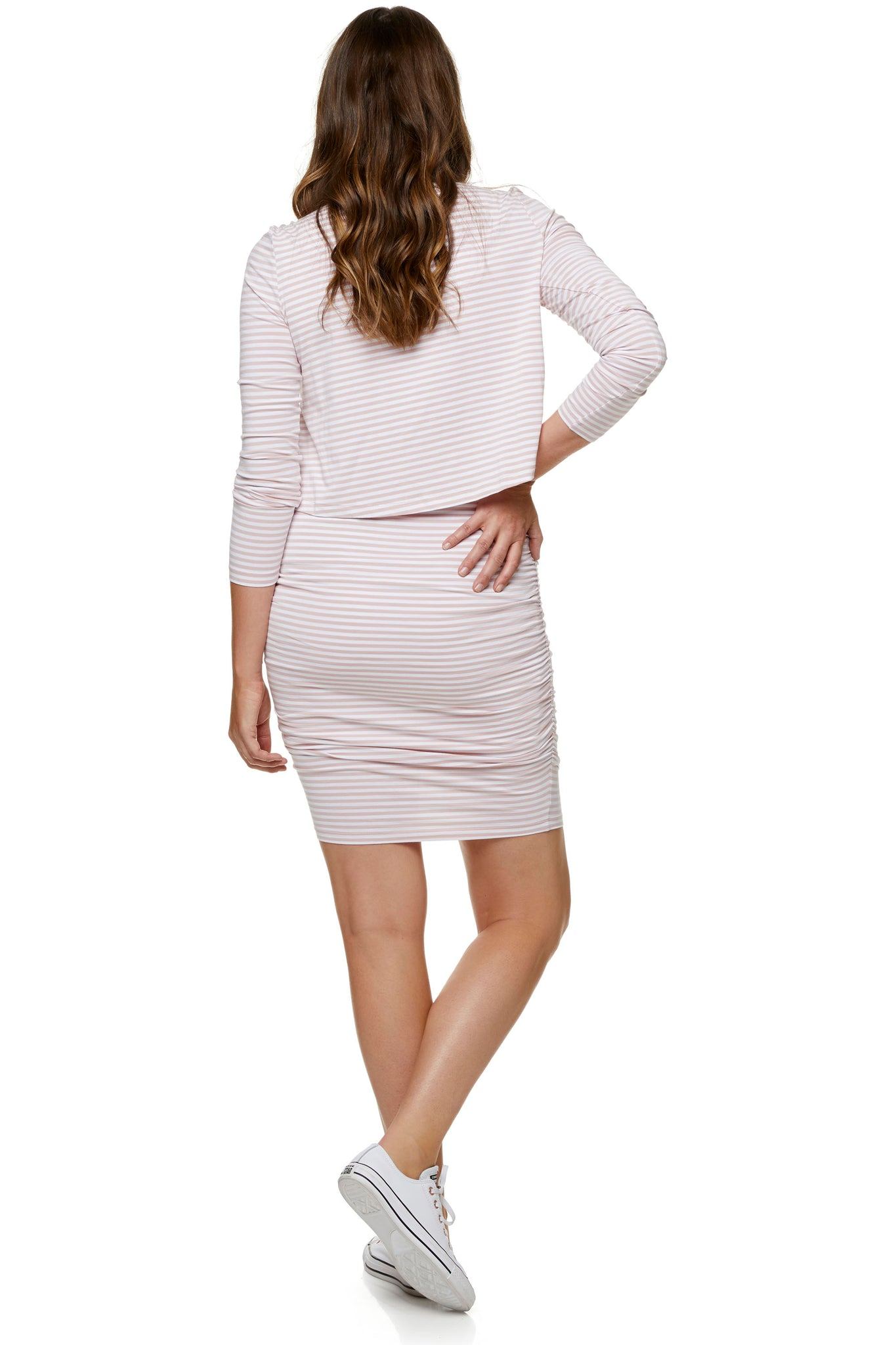 Pink long sleeve nursing dress 7