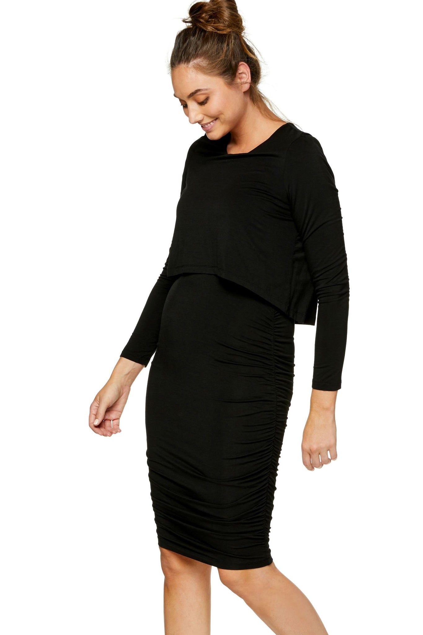 Long sleeve maternity and nursing dress - Black 6