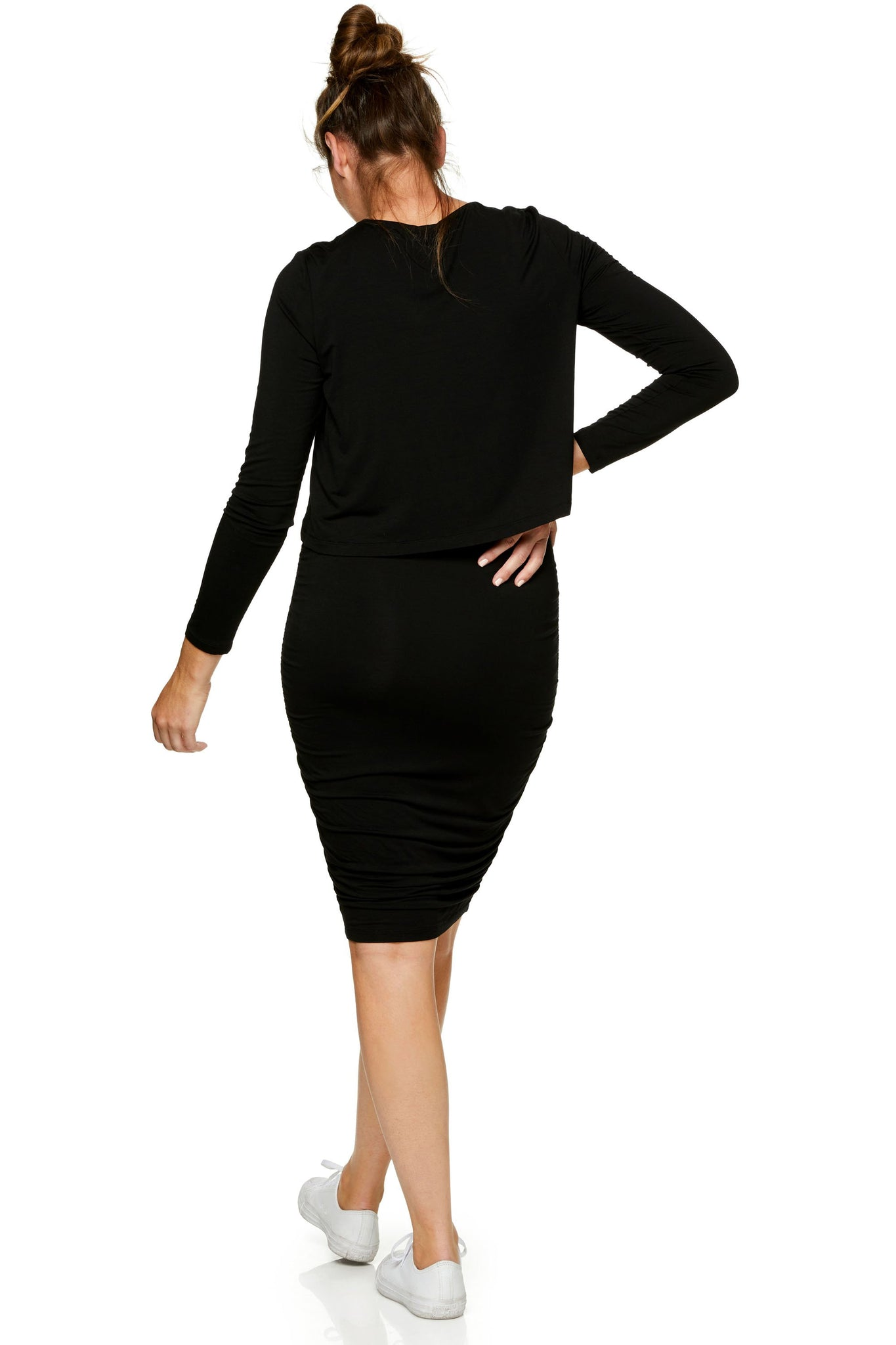 Long sleeve maternity and nursing dress - Black 8