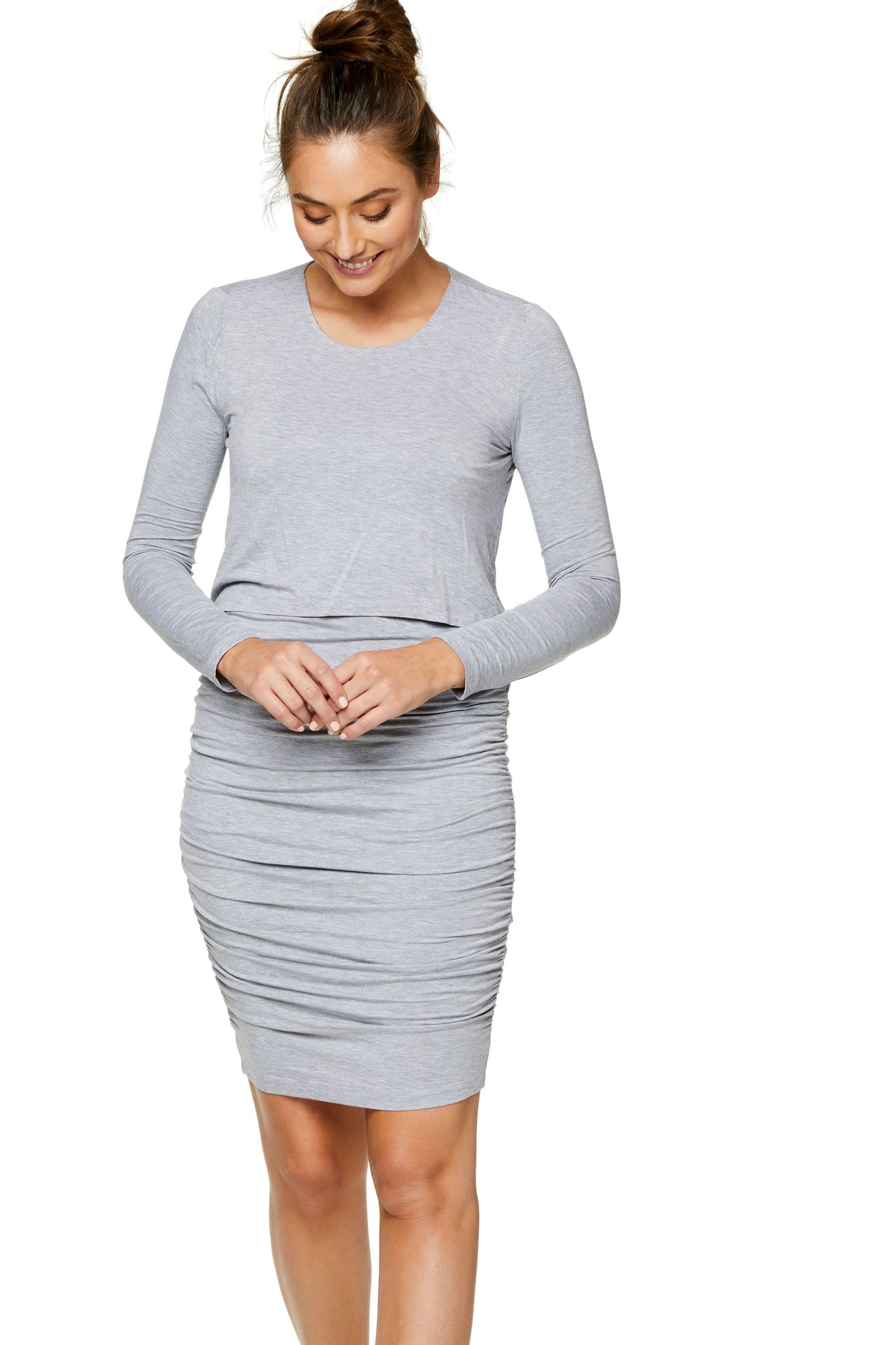 Long sleeve maternity and nursing dress - Grey 6