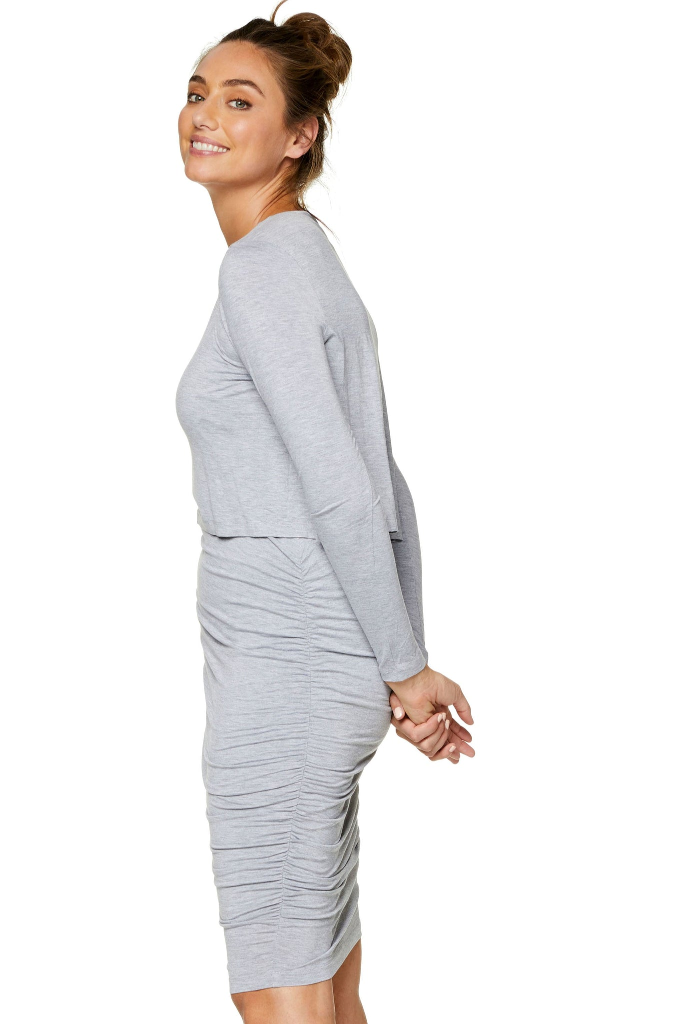 Long sleeve maternity and nursing dress - Grey 7