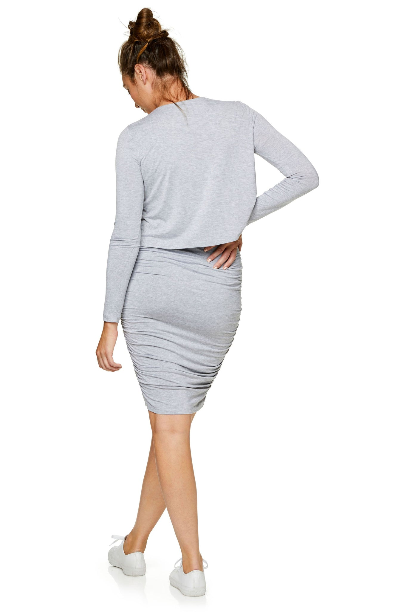 Long sleeve maternity and nursing dress - Grey 8