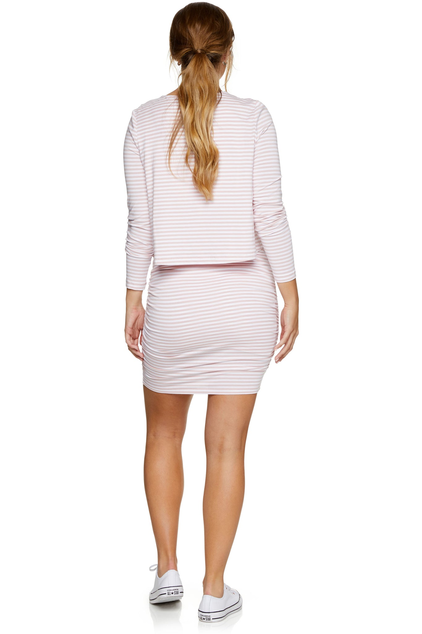 Pink long sleeve nursing dress 3