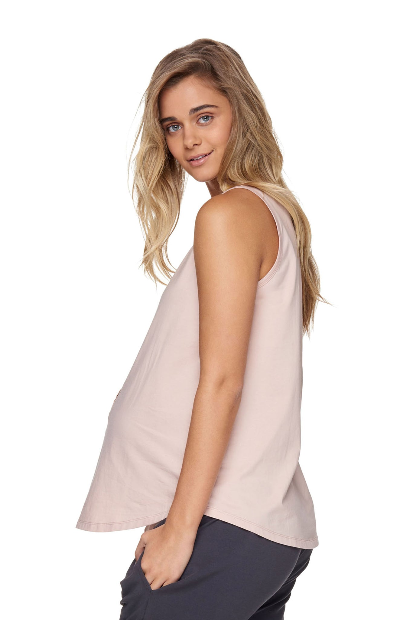 Maternity + Nursing Tank Top - Pink 2