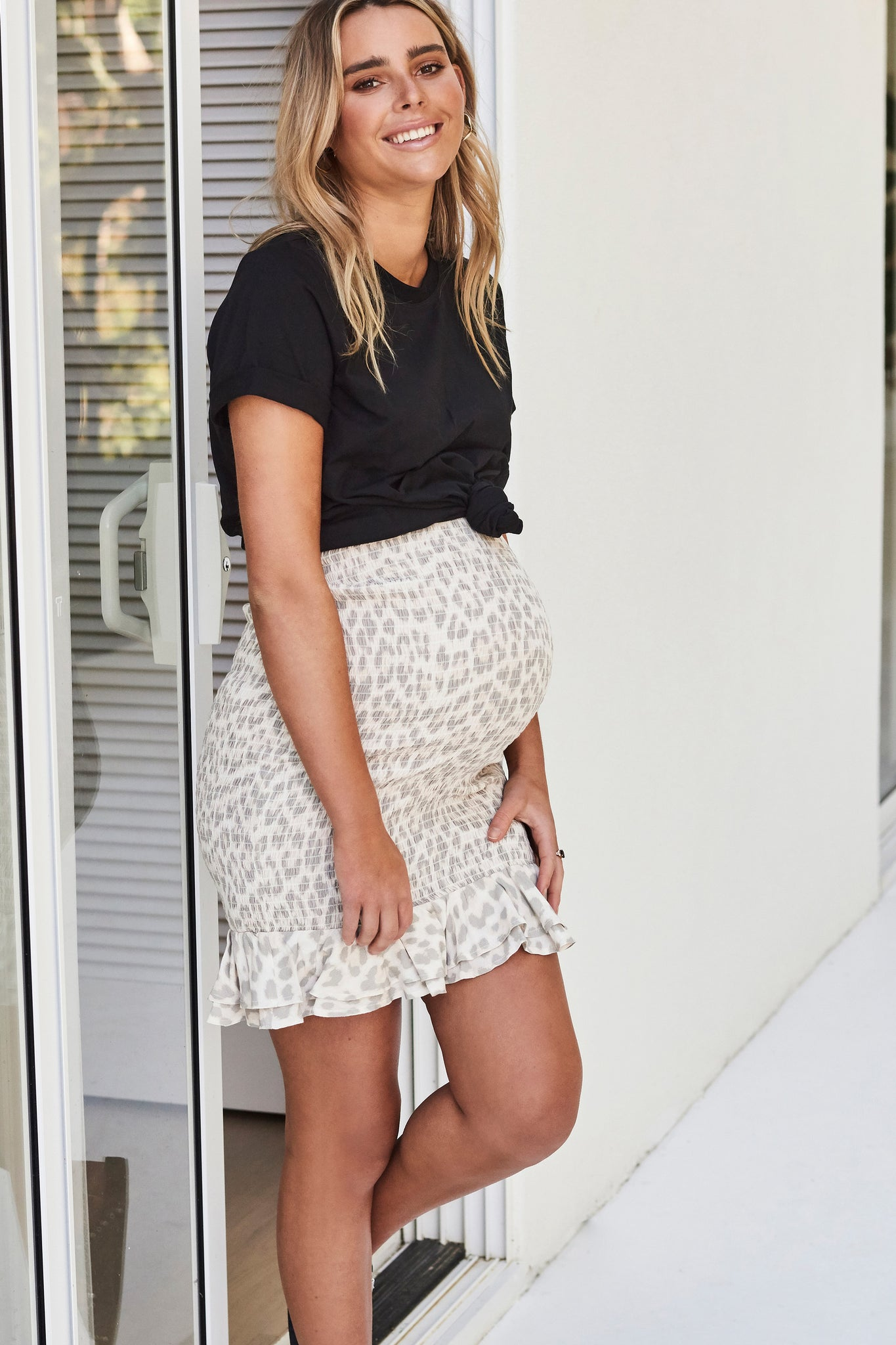 Shirred maternity skirt with frill - leopard 5