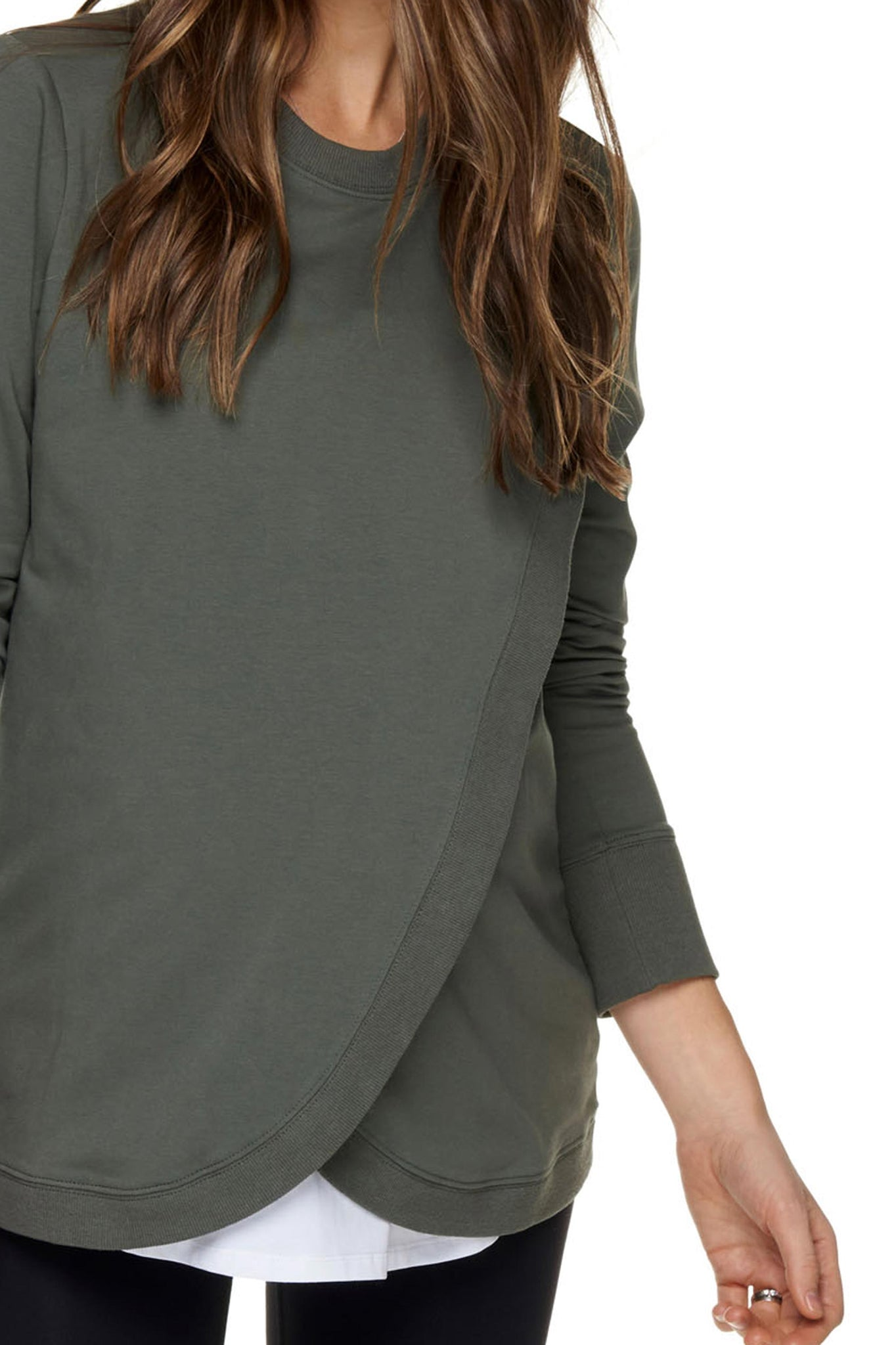 Maternity + Nursing Sweater Top - Khaki 4