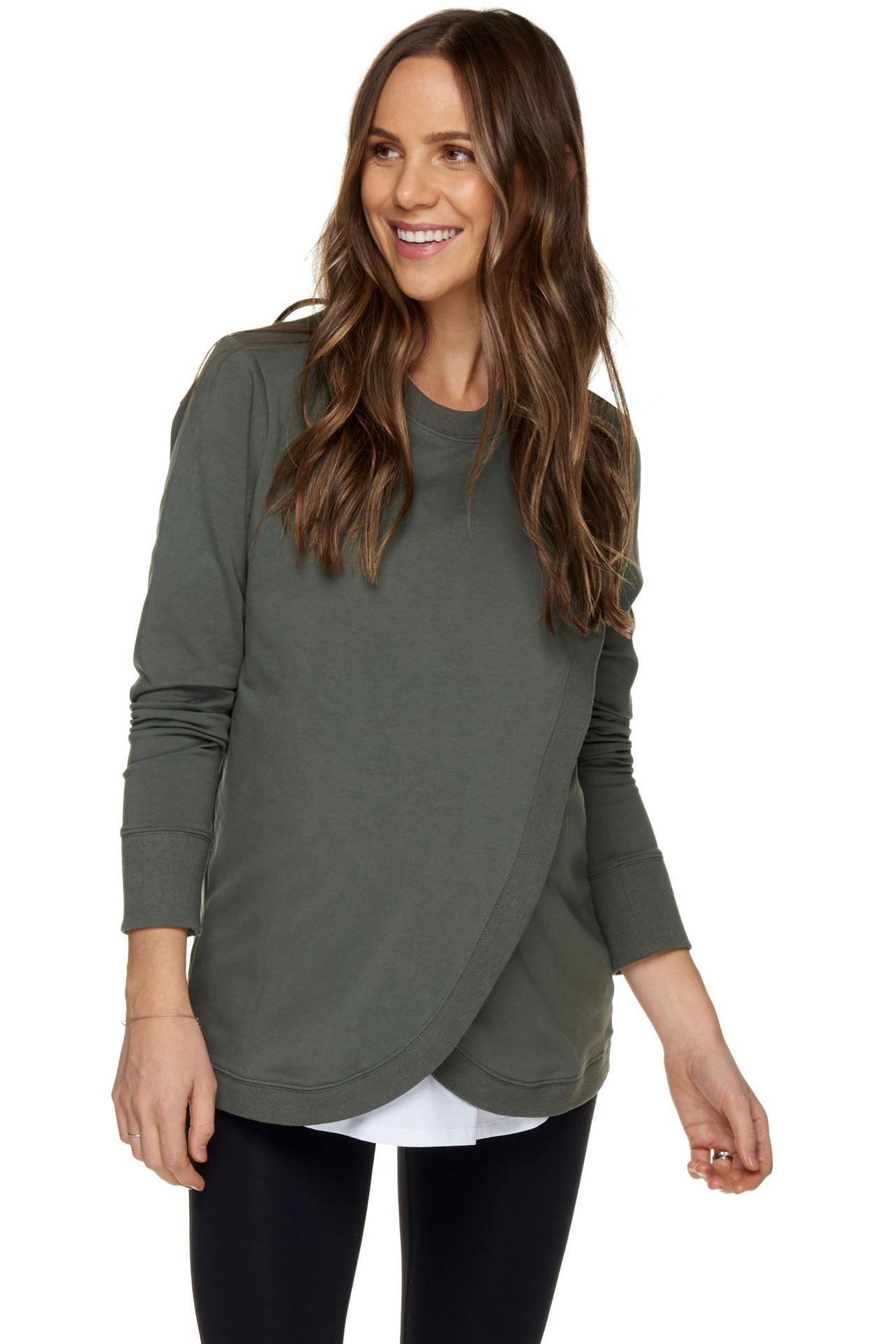 Maternity and Nursing Sweater - Khaki 1