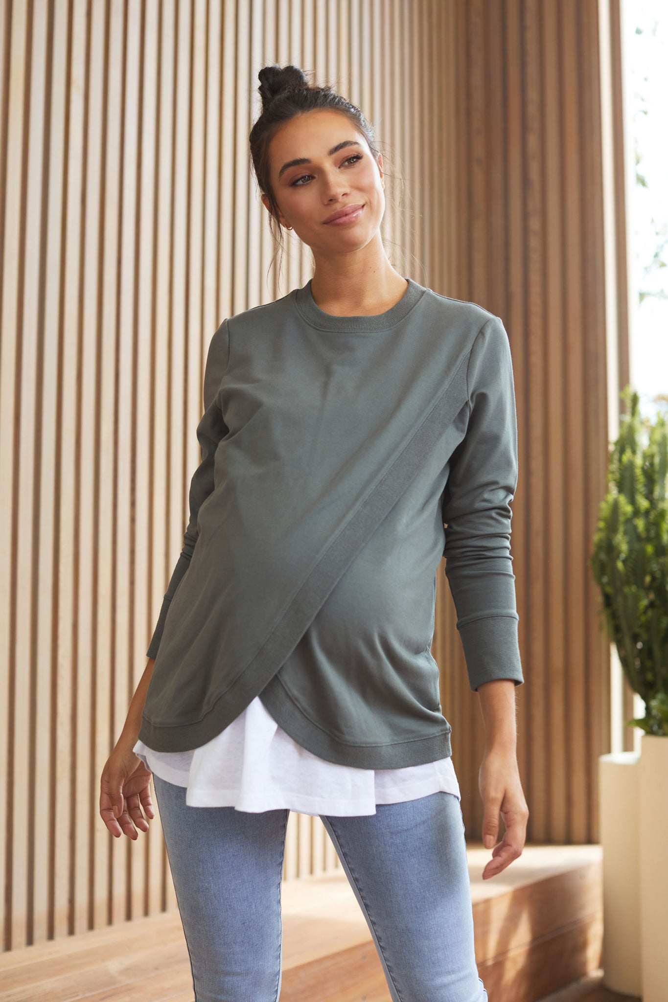 Maternity and Nursing Sweater - Khaki 5