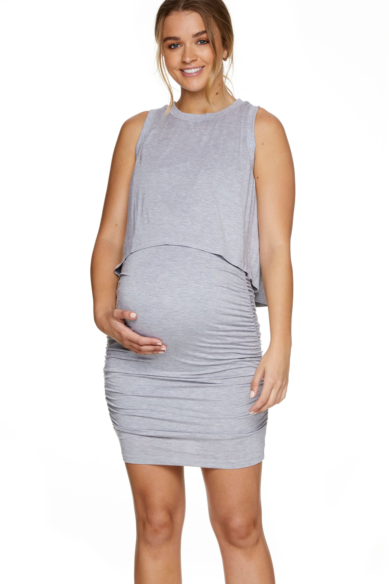 Maternity bodycon dress - Grey 1