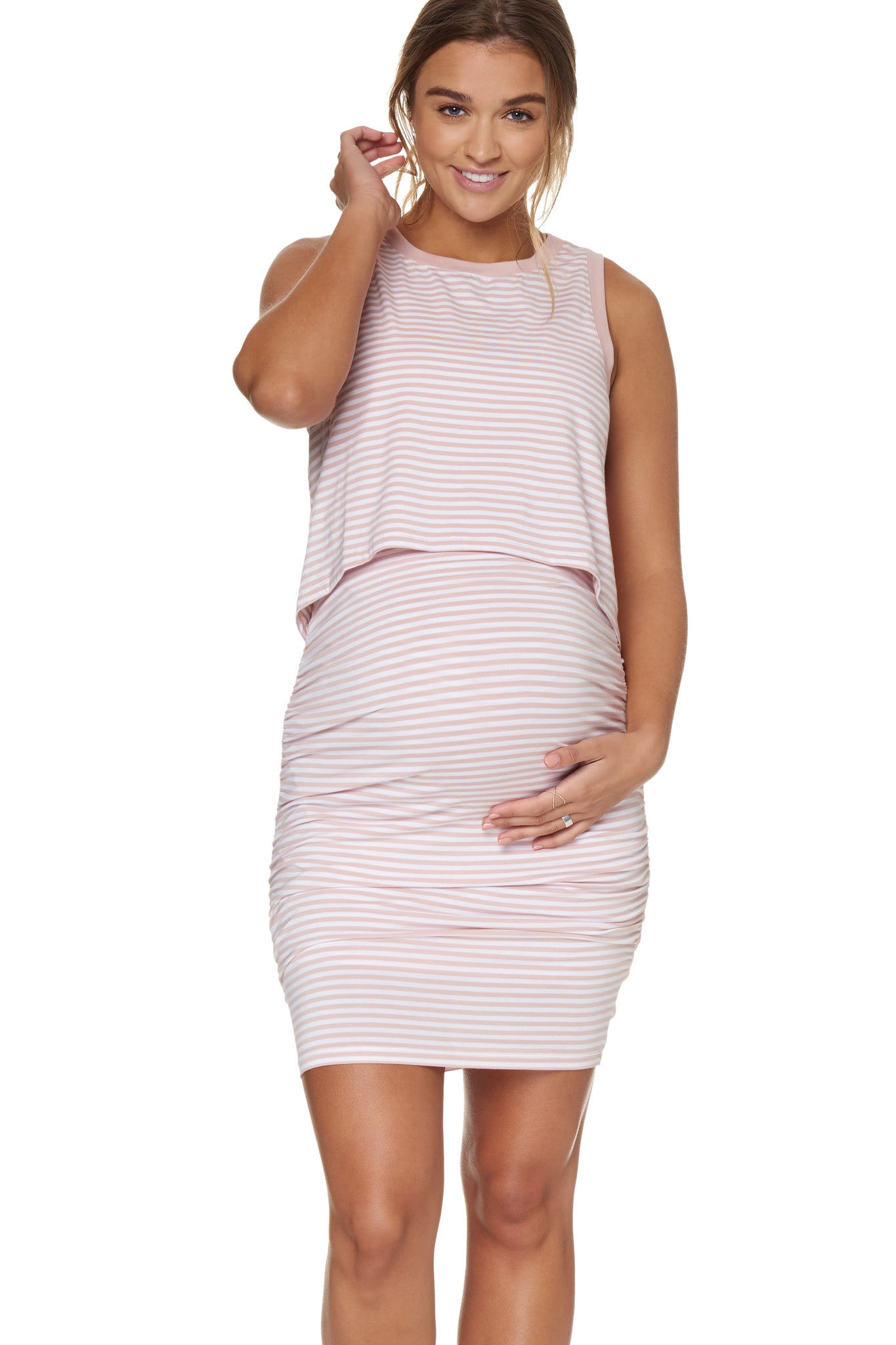 Stripe nursing & maternity dress - pink 1