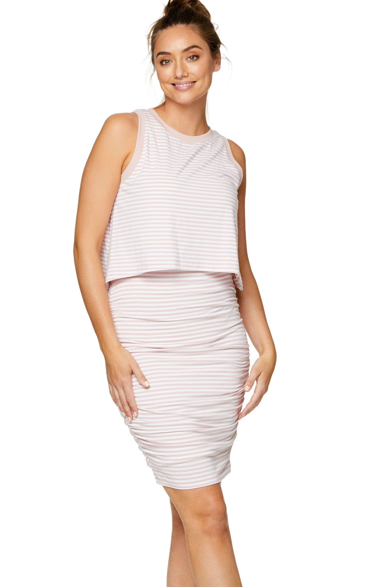 Stripe nursing & maternity dress - pink 5