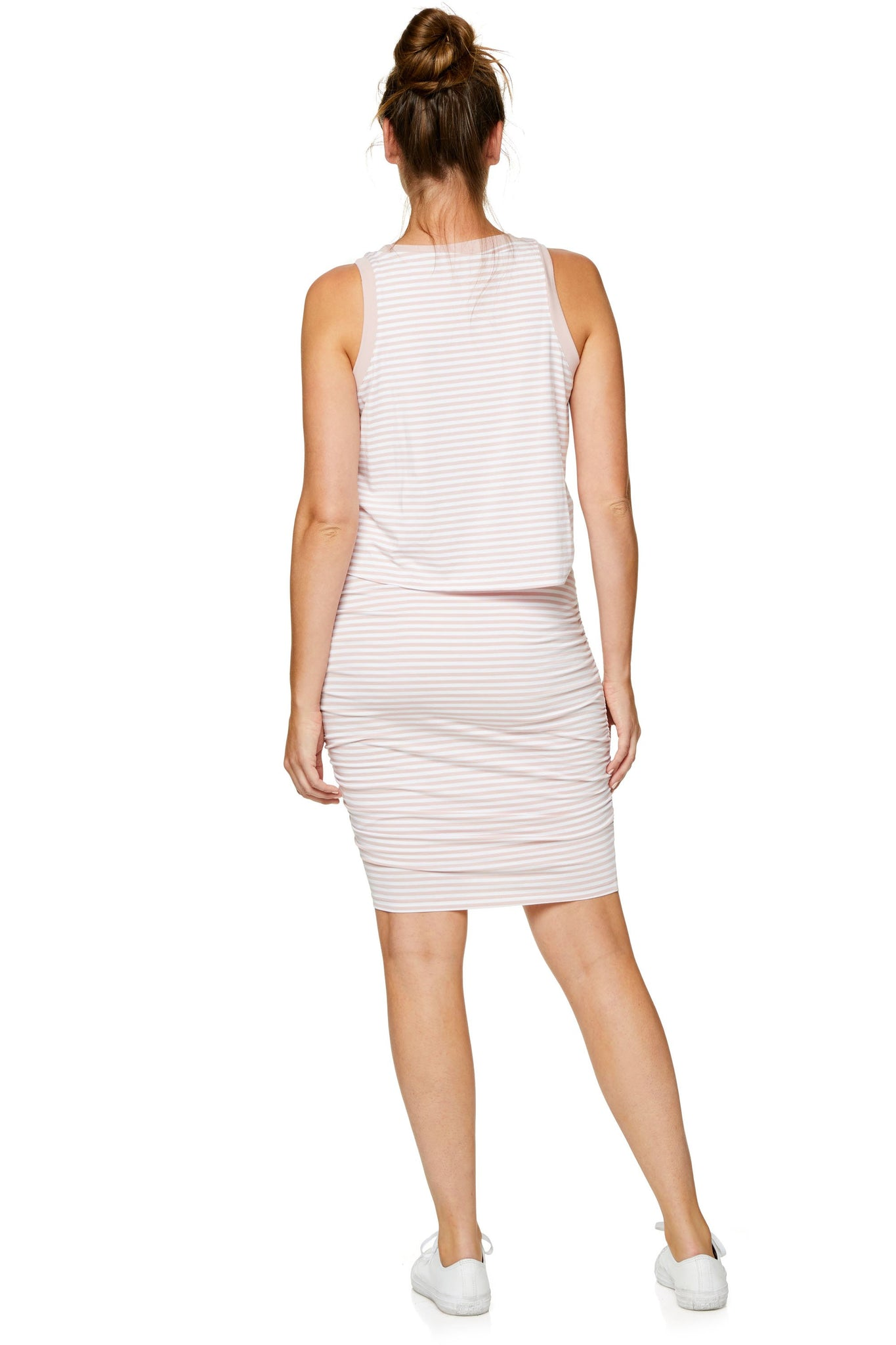 Stripe nursing & maternity dress - pink 7