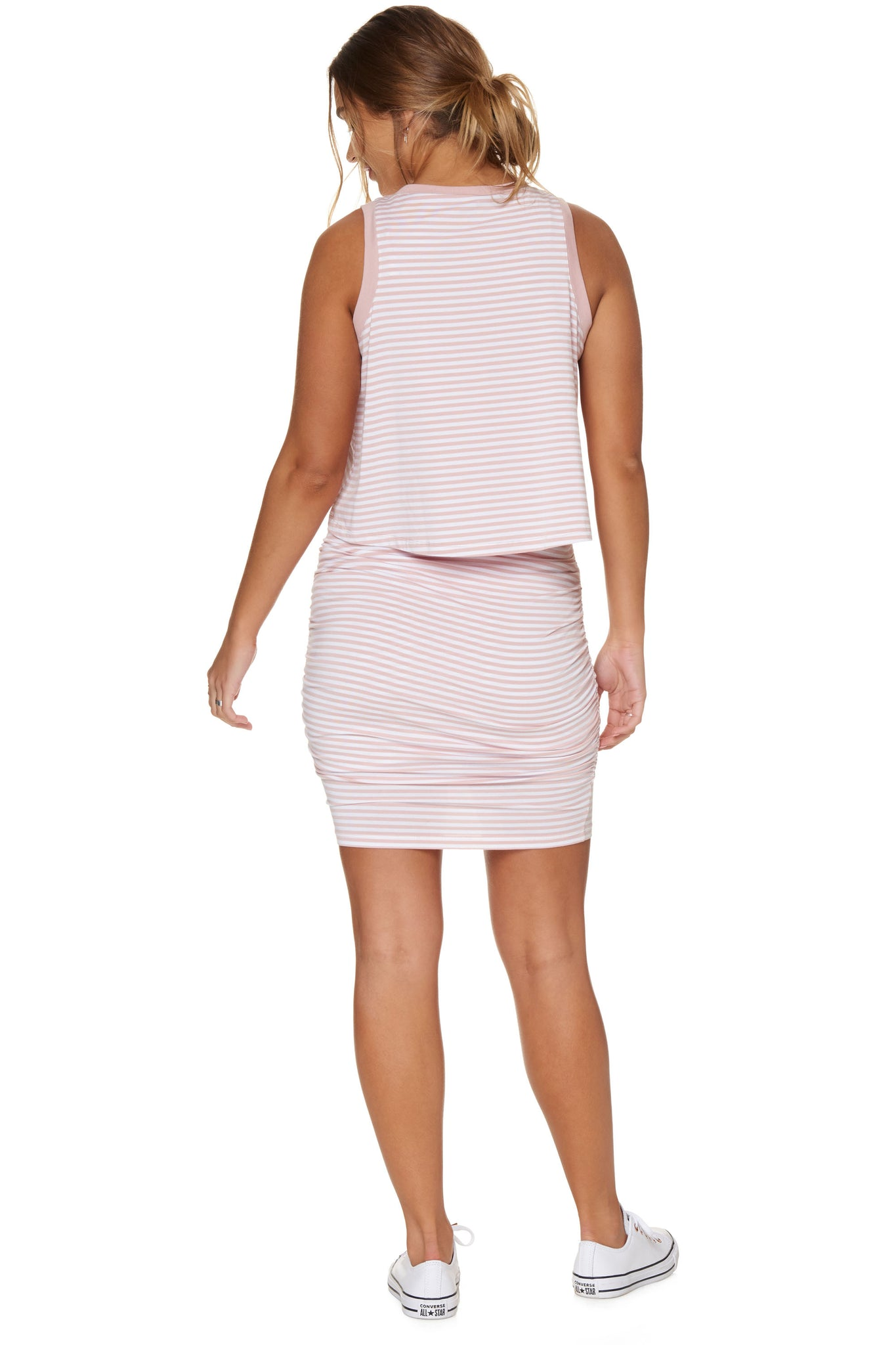 Stripe nursing & maternity dress - pink 3