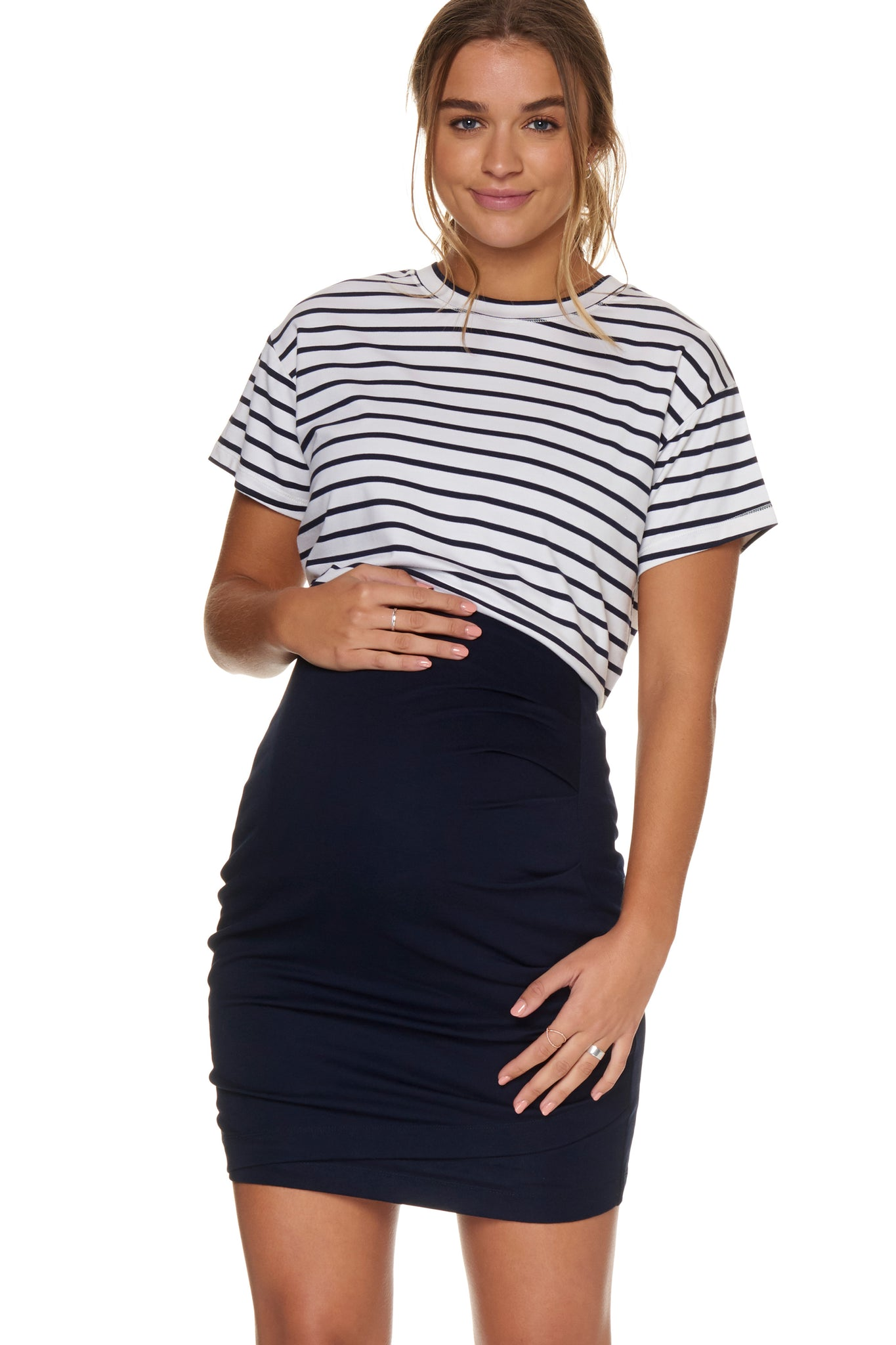 Stripe Maternity Tie Up Tee - Navy 1