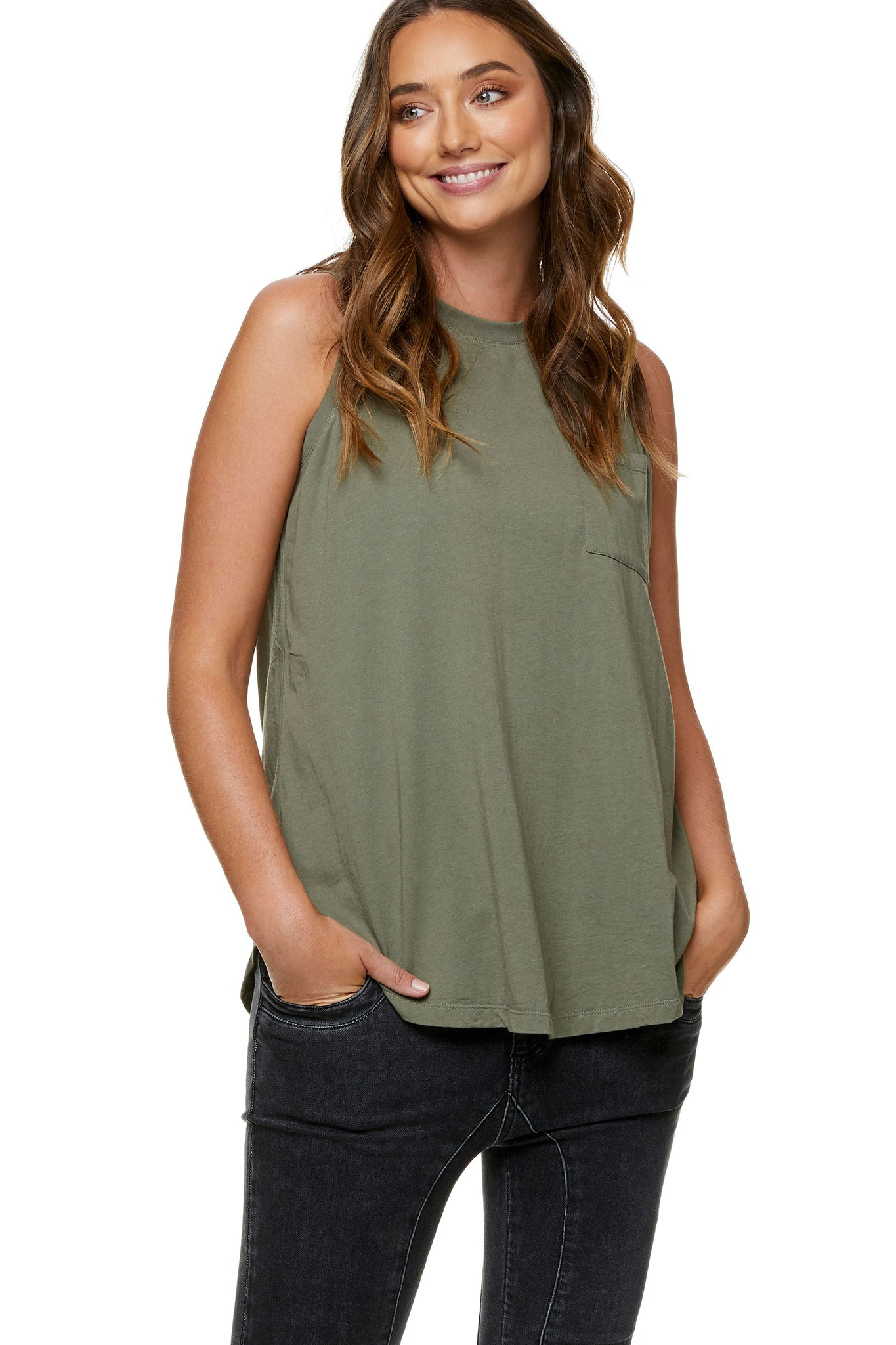 Maternity tank top Khaki 3