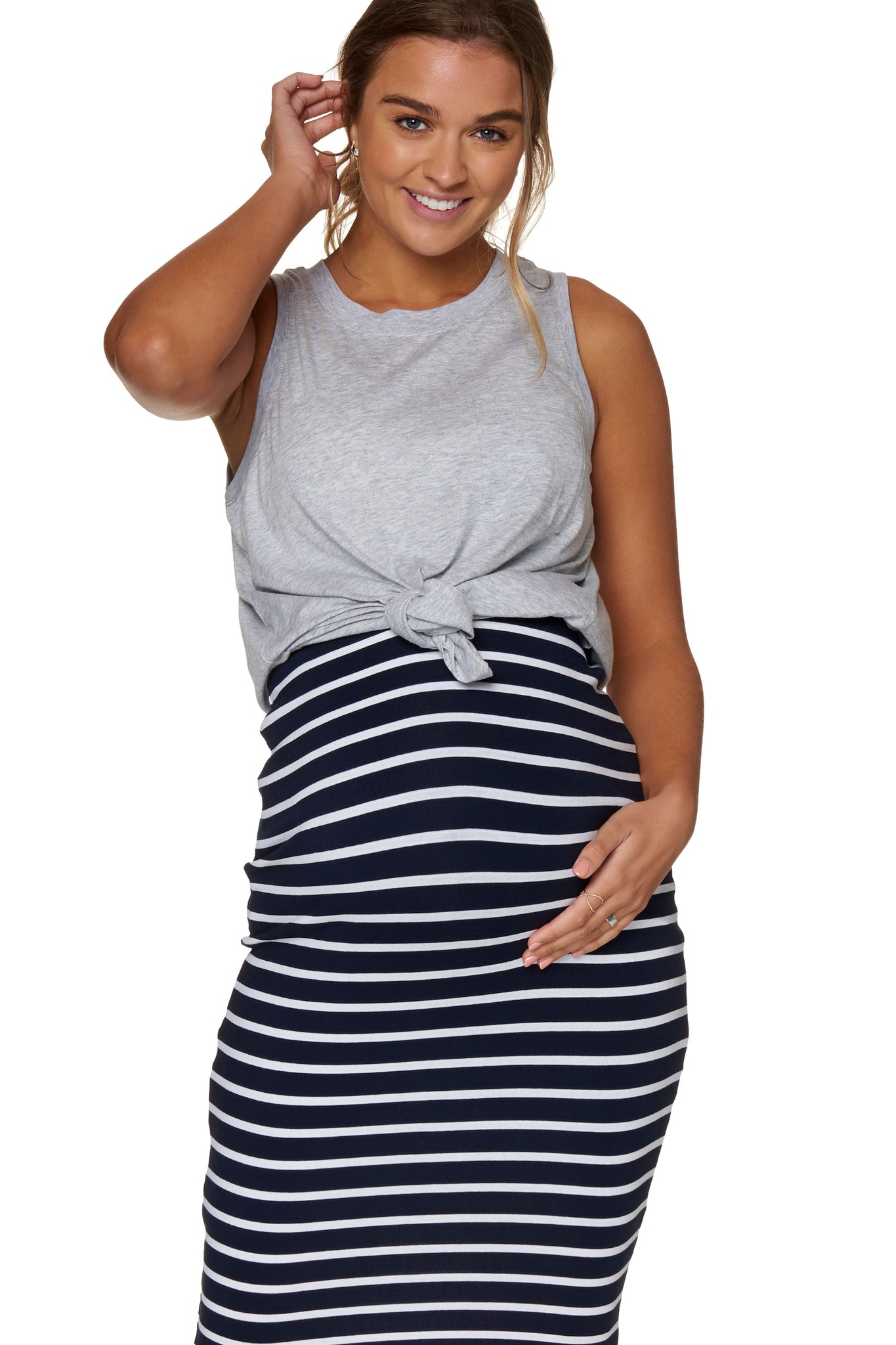 Essential Maternity Tank Top - Grey 1