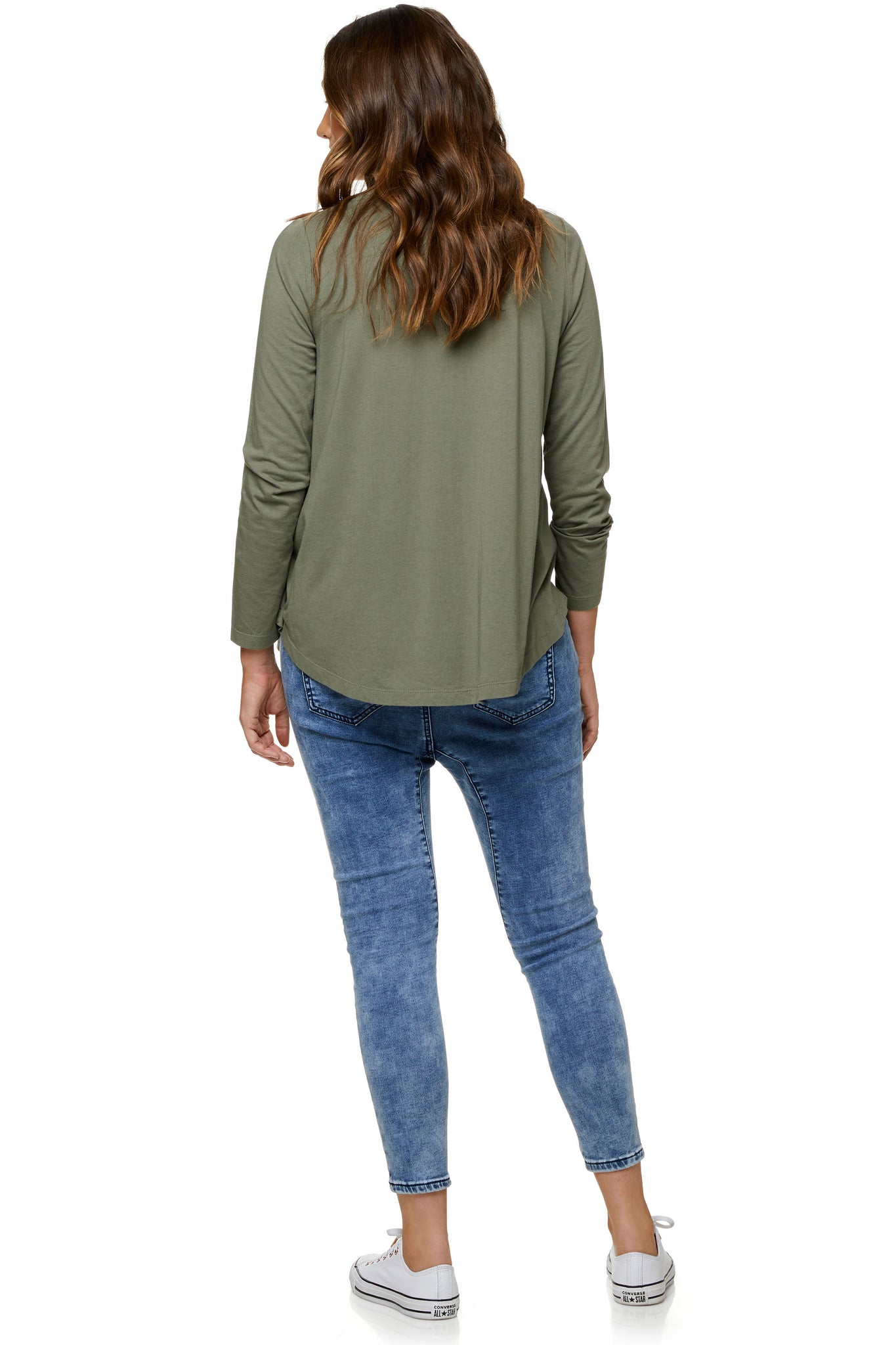 Long sleeve maternity top in khaki 8