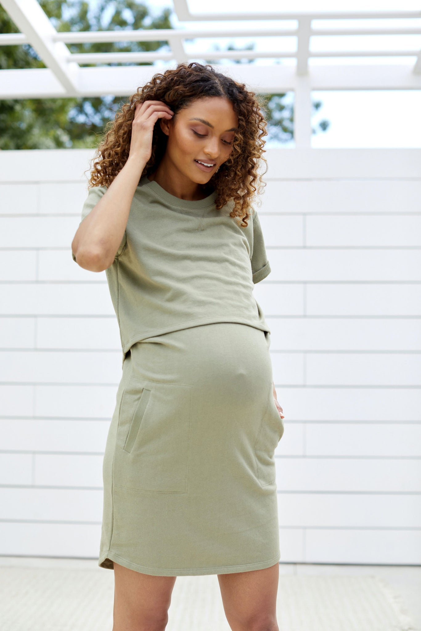 Maternity and Nursing Dress Khaki Image 5