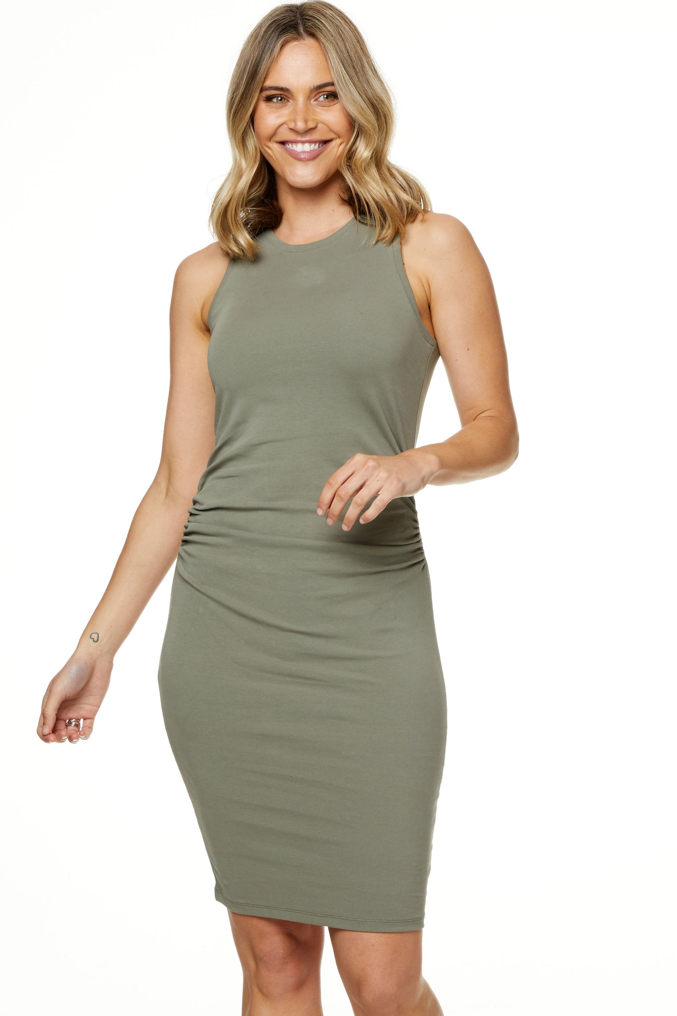 Bodycon Maternity Dress Khaki Image 1