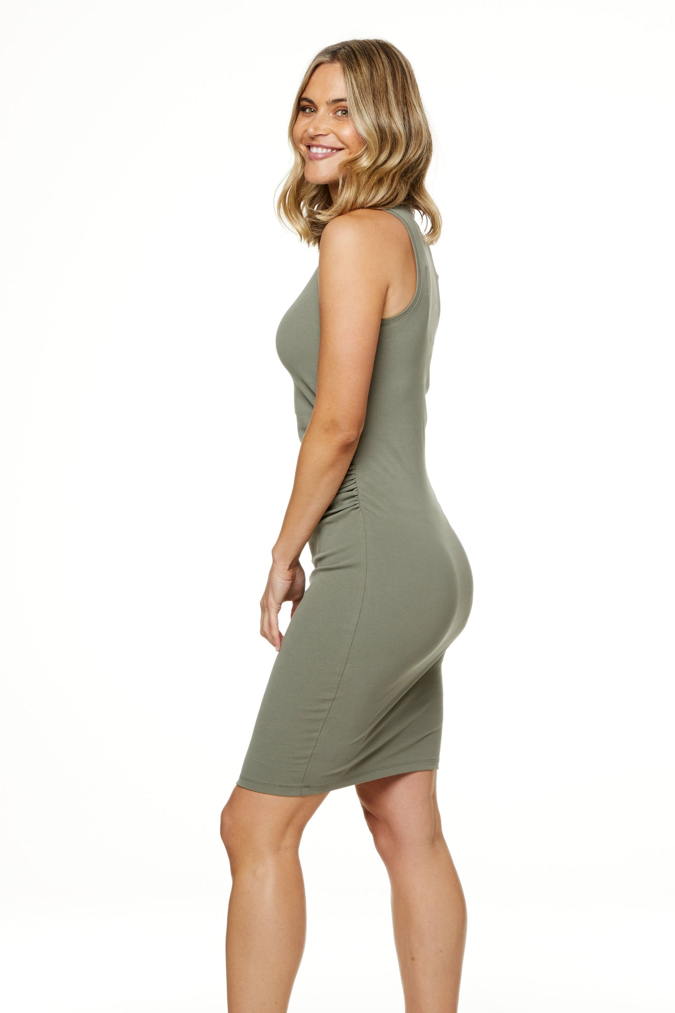 Bodycon Maternity Dress Khaki Image 2