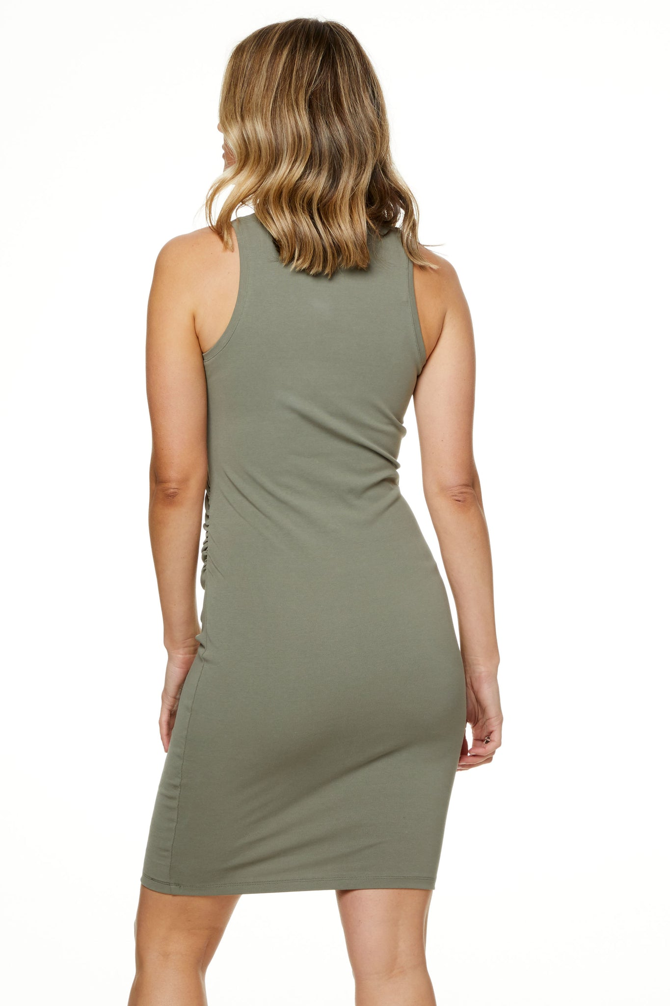 Bodycon Maternity Dress Khaki Image 3