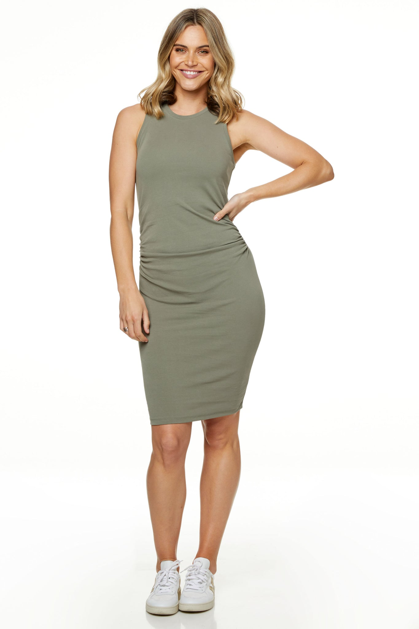 Bodycon Maternity Dress Khaki Image 4