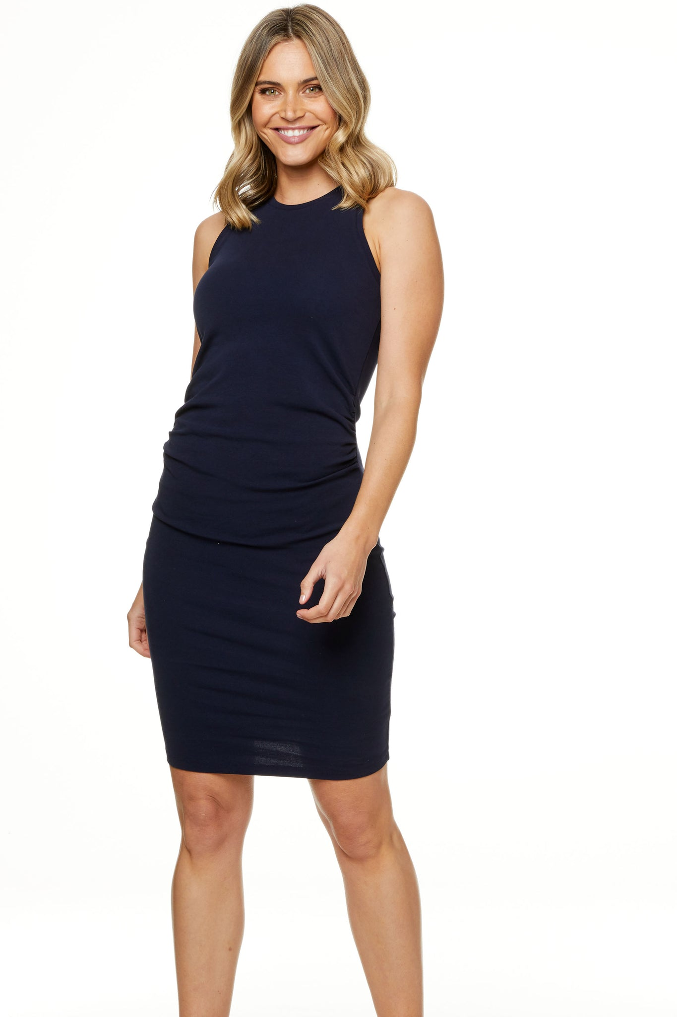 Bodycon Maternity Dress Navy Image 1