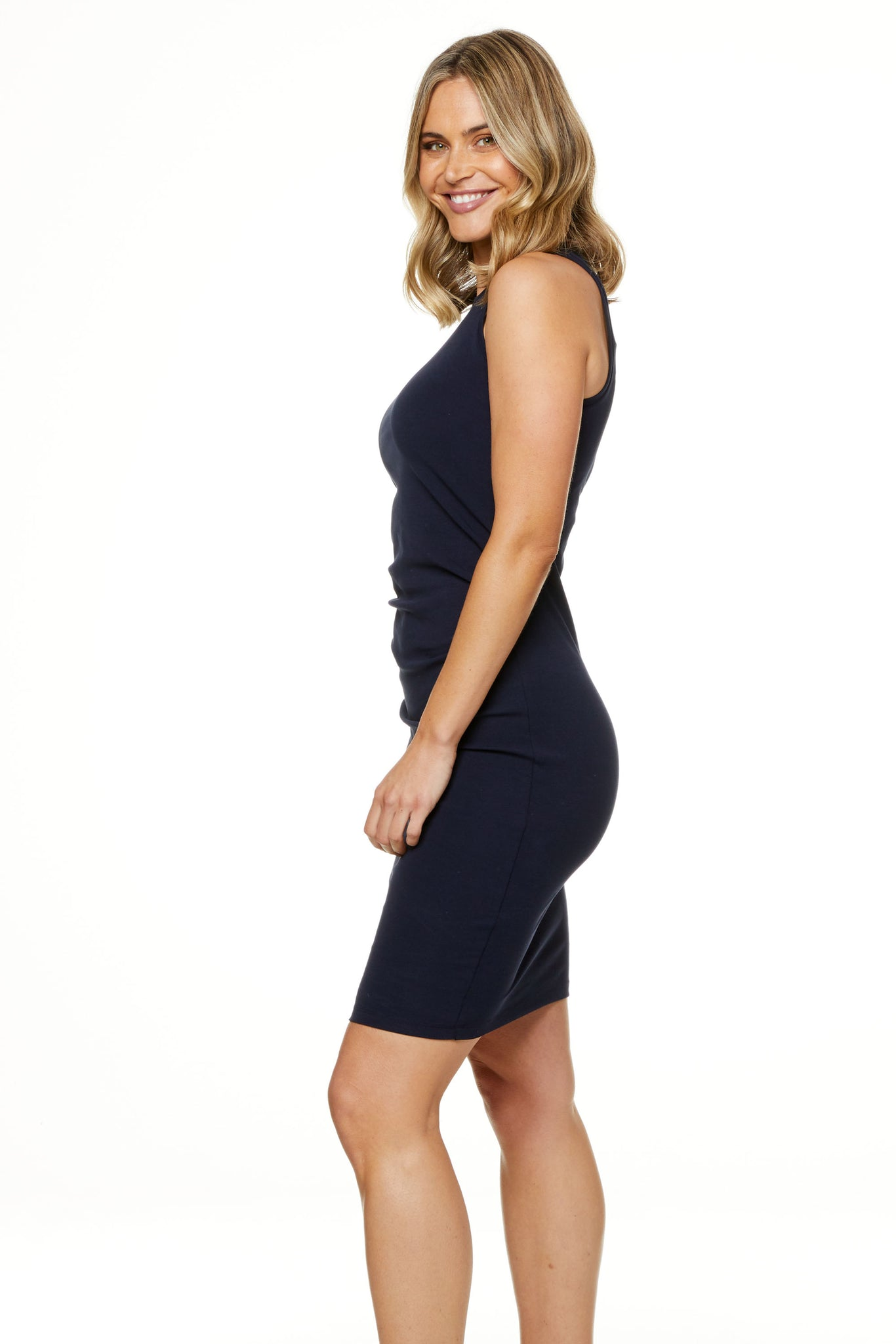 Bodycon Maternity Dress Navy Image 2