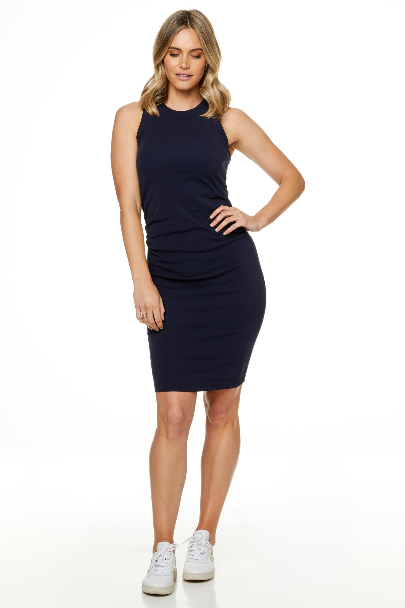 Bodycon Maternity Dress Navy Image 4