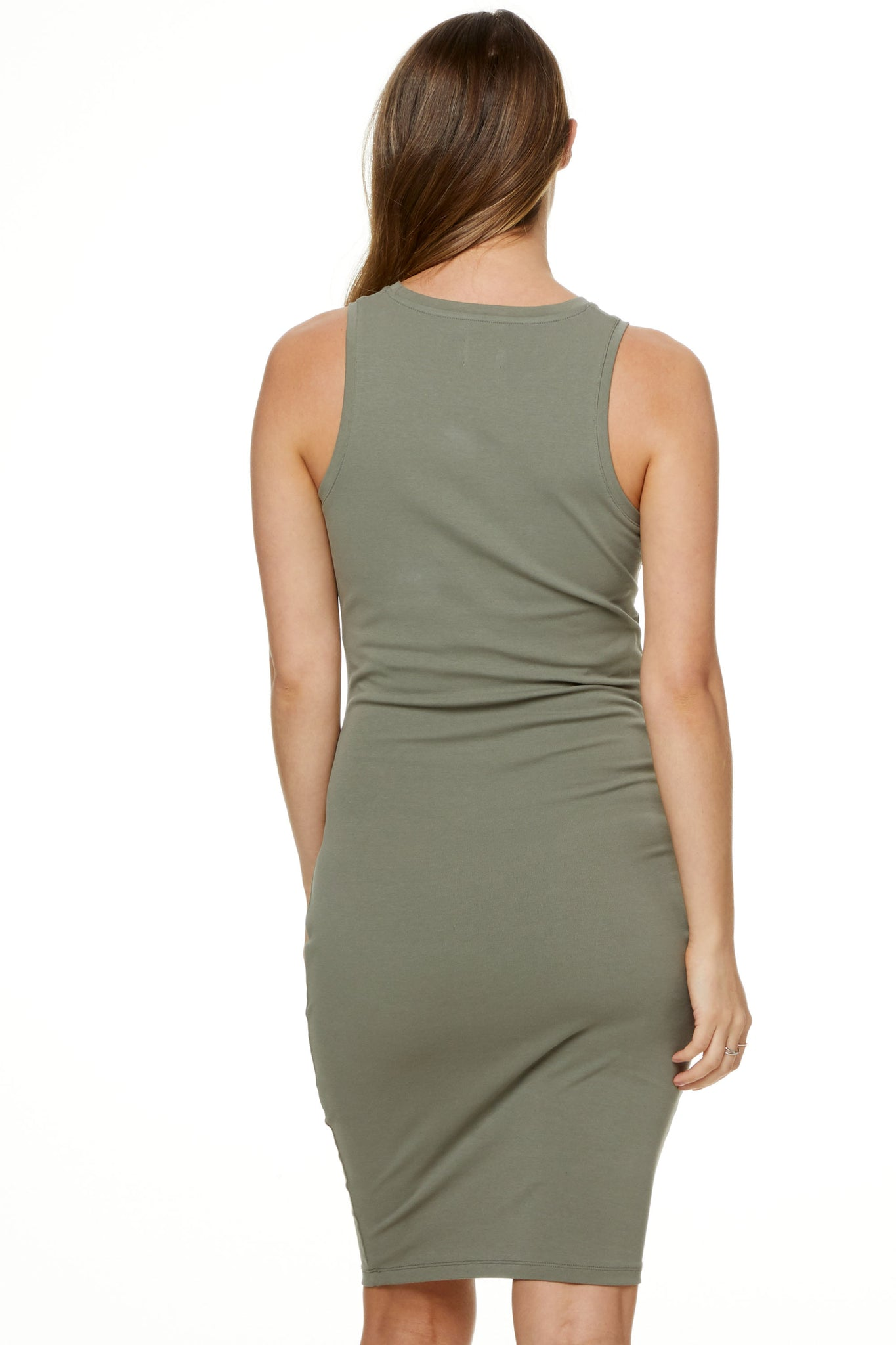 Bodycon Maternity Dress Khaki Image 9