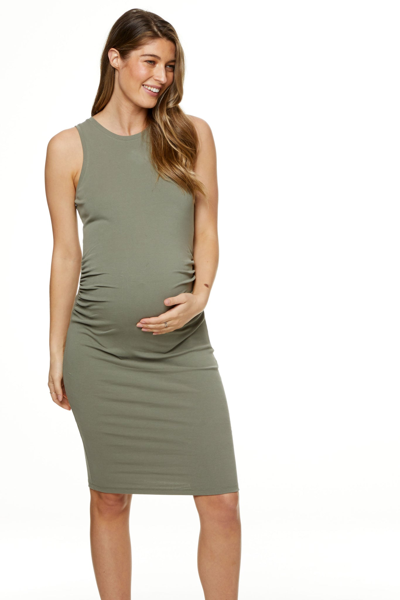 Bodycon Maternity Dress Khaki Image 6