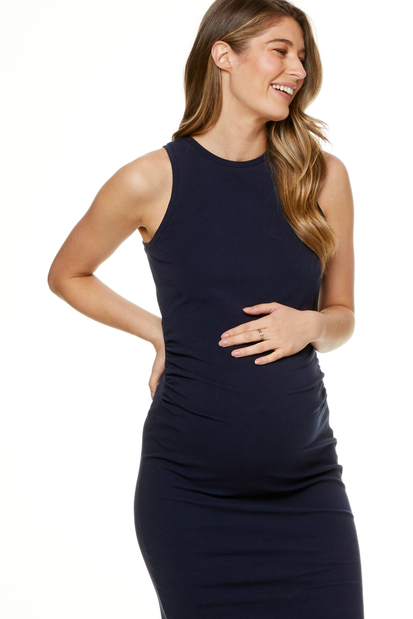 Bodycon Maternity Dress Navy image 6