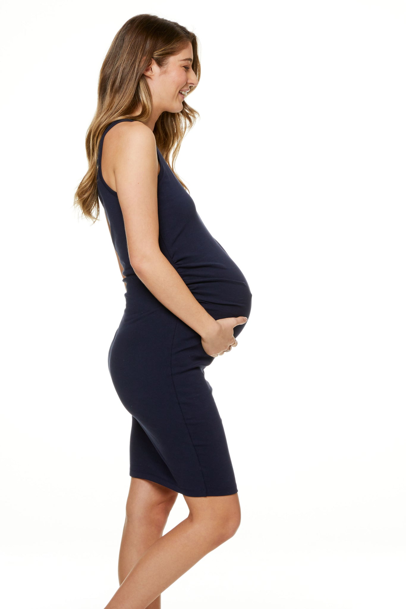 Bodycon Maternity Dress Navy image 7