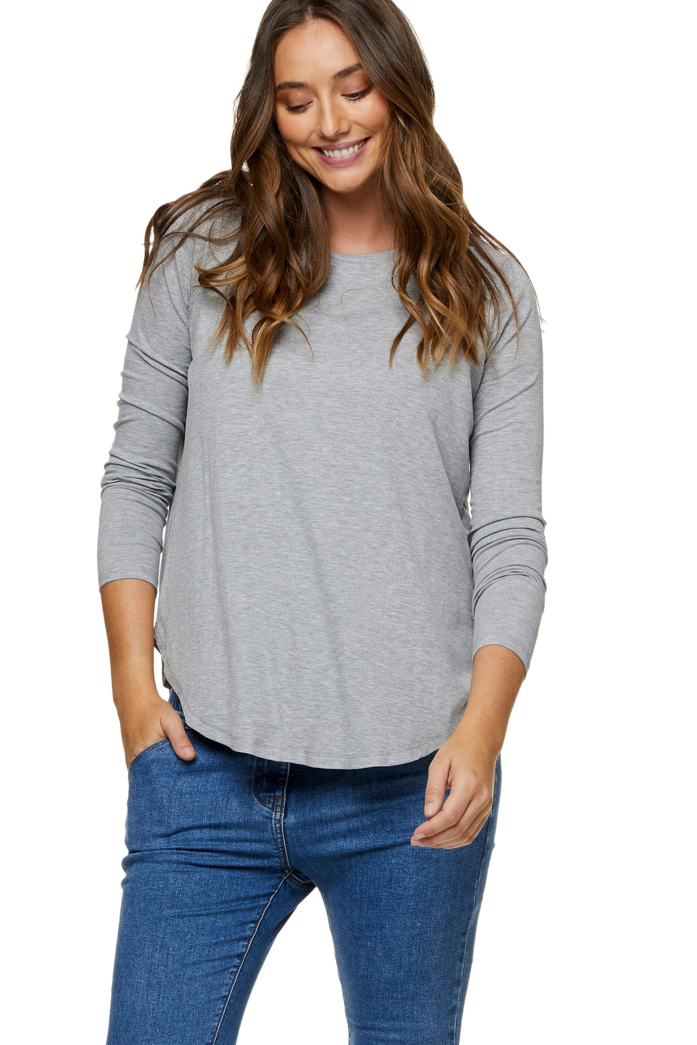 Grey nursing top - Maternity long sleeve top 6