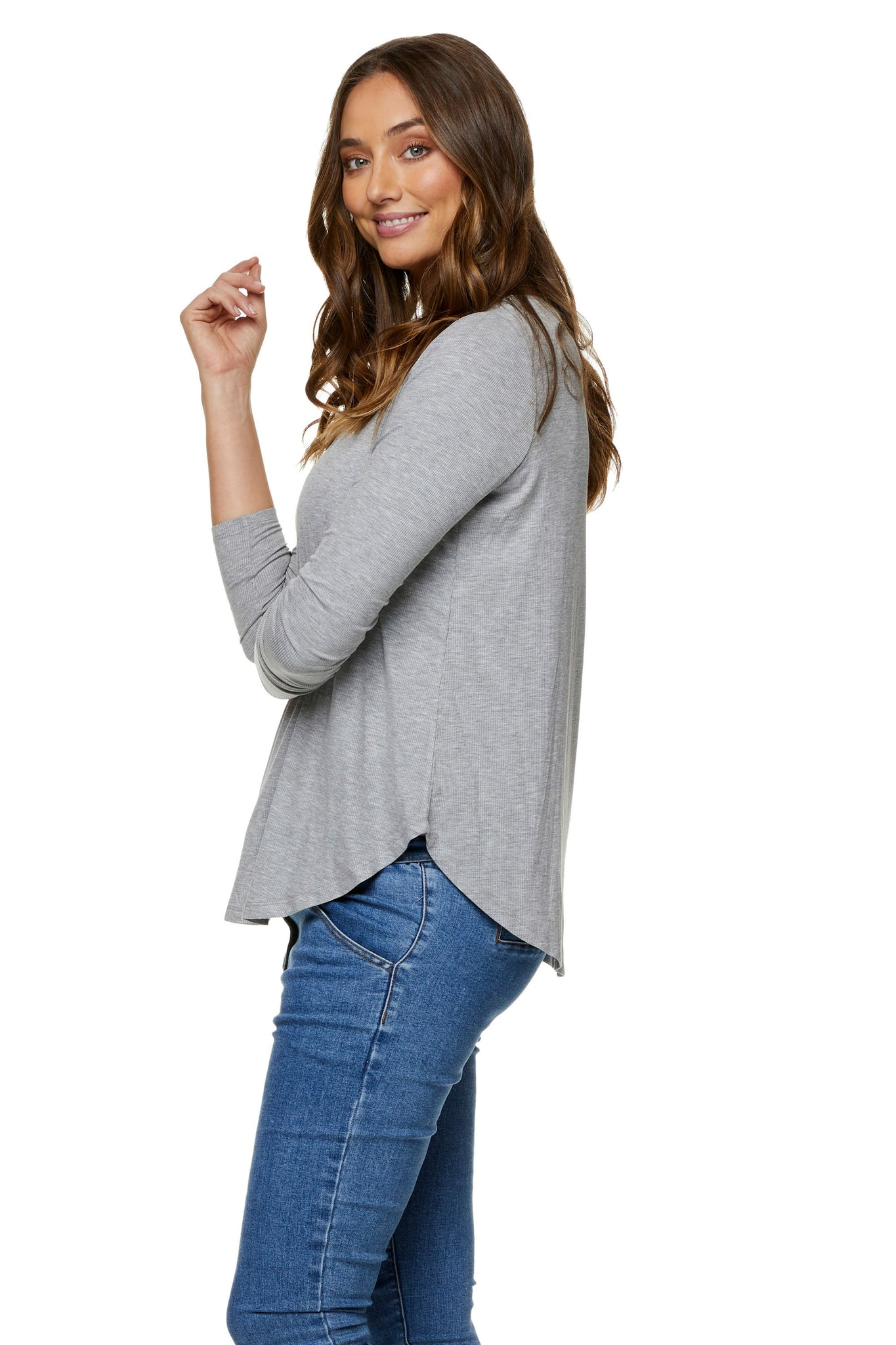 Grey nursing top - Maternity long sleeve top 7