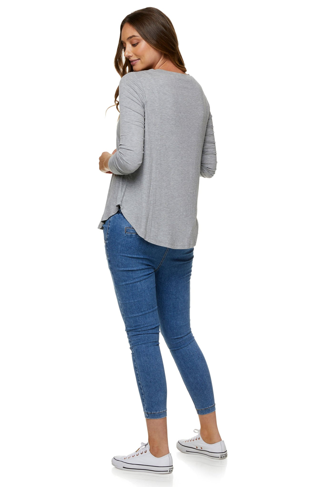 Grey nursing top - Maternity long sleeve top 8