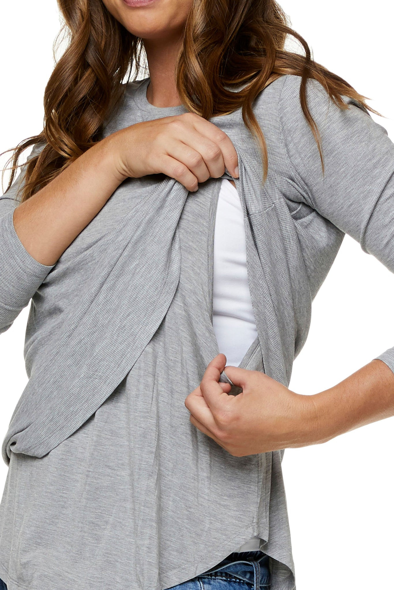 Grey nursing top - Maternity long sleeve top 9